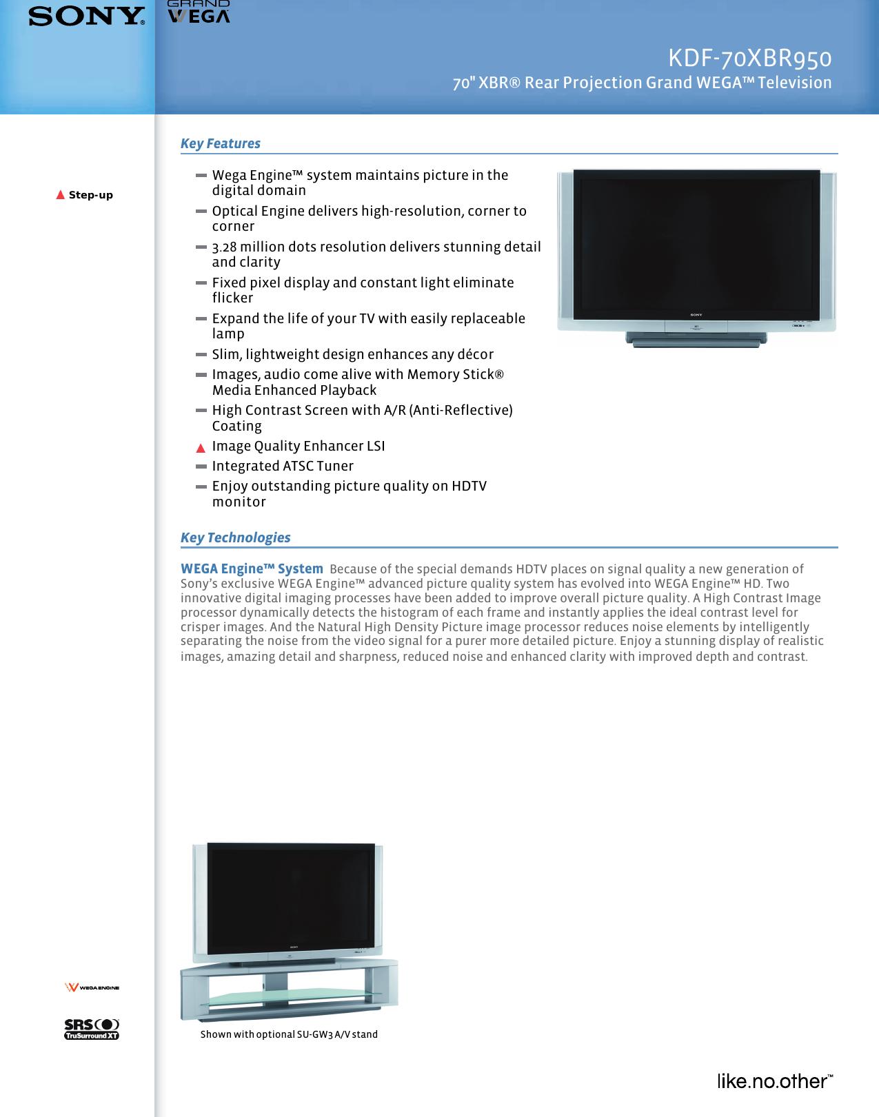 sony kdf 70xbr950 user manual marketing specifications kdf70xbr950 mksp rh usermanual wiki Sony KDF-70XBR950 Back Sony KDF-70XBR950 Back