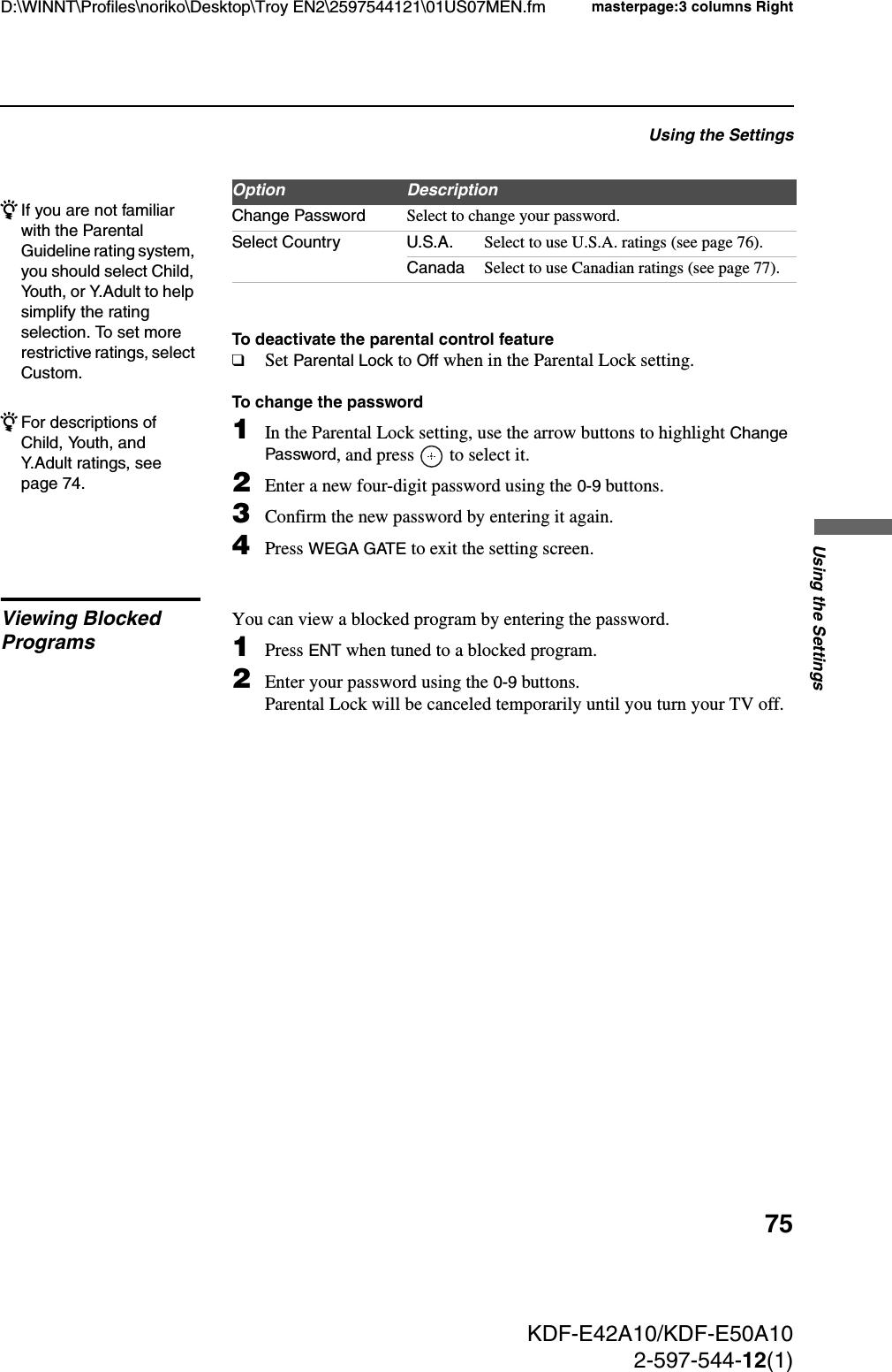 Sony KDF E50A10 E42/50A10 User Manual Operating Instructions