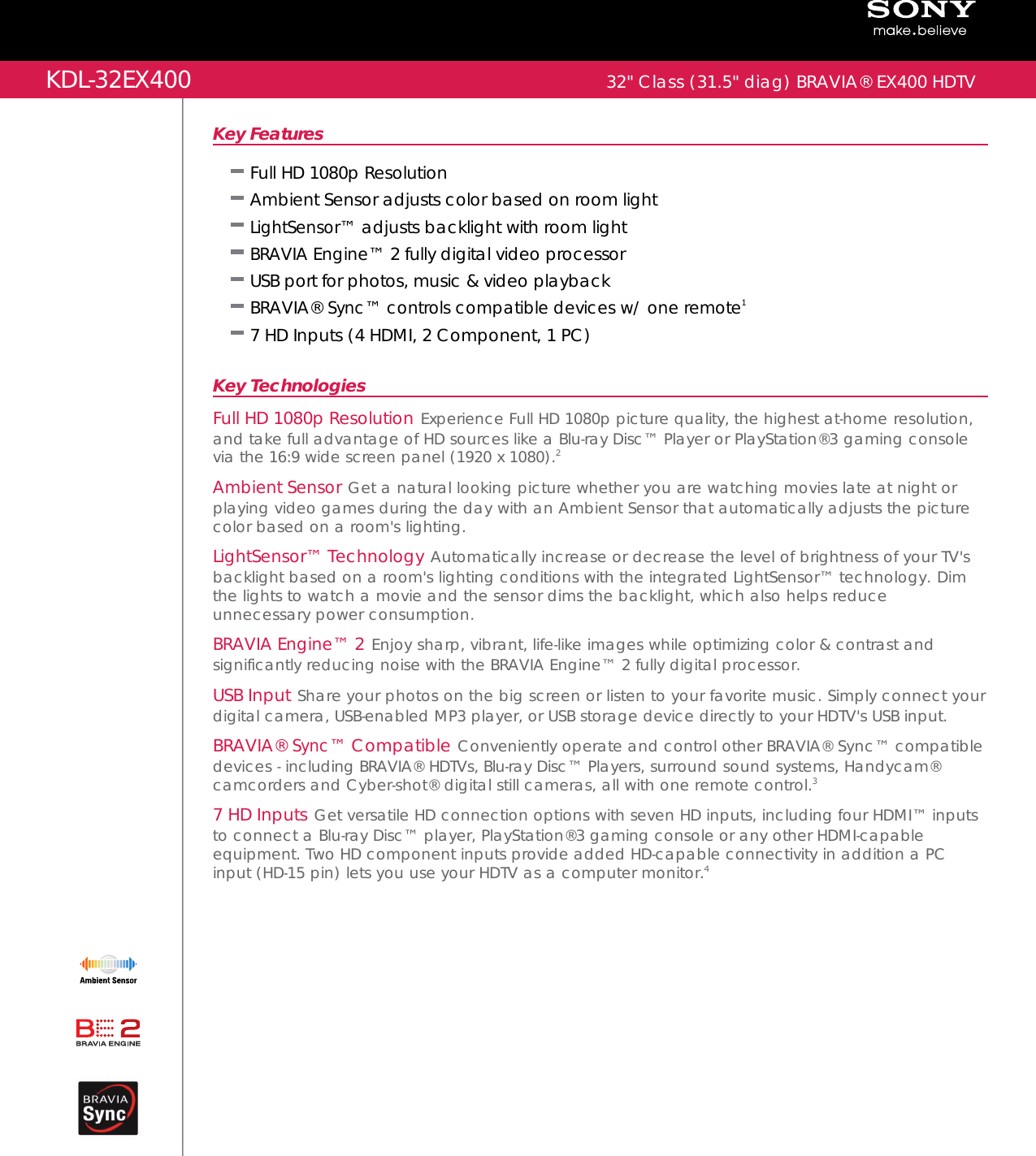 sony kdl 32ex400 user manual marketing specifications kdl32ex400 mksp rh usermanual wiki sony kdl-32ex400 manual pdf sony kdl-32ex400 manual pdf