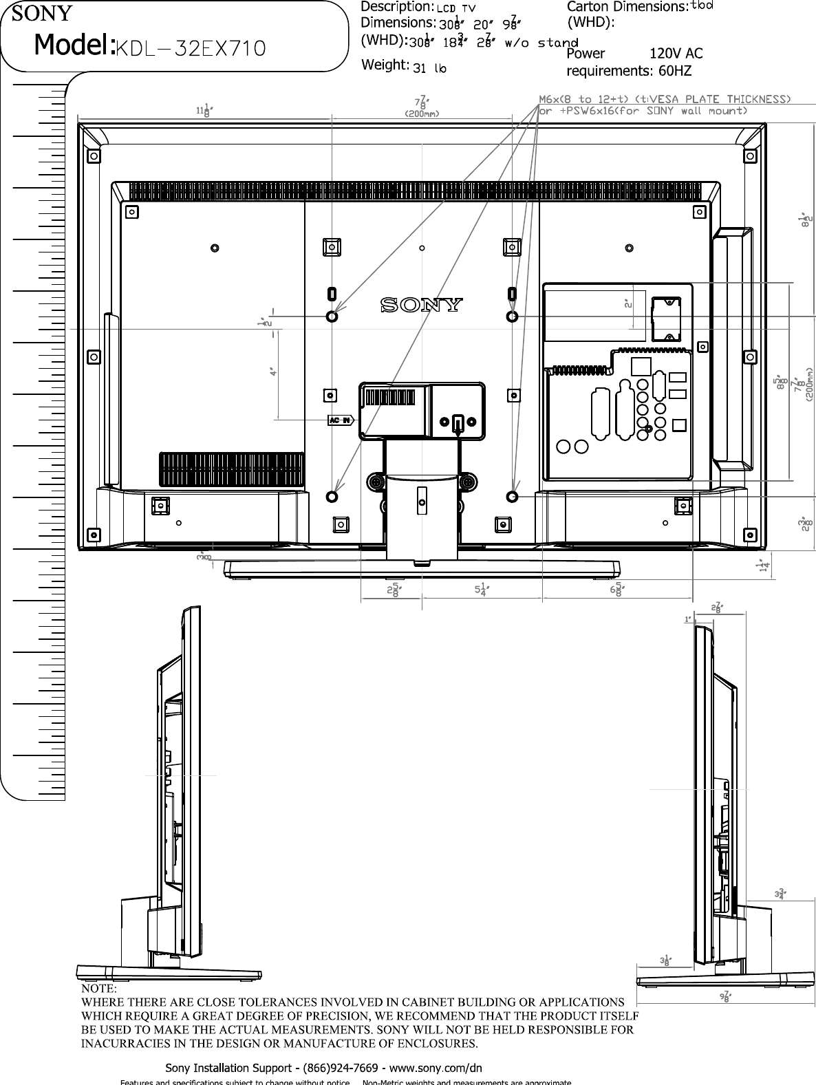 Sony KDL 32EX710 Layout1 User Manual Dimensions Diagram