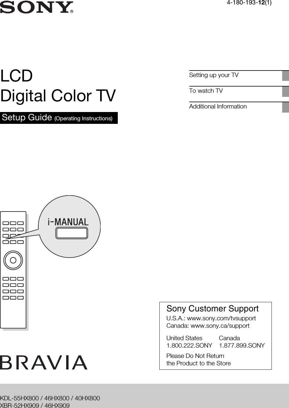 Sony KDL 40HX800 HX909/HX800 User Manual Setup Guide