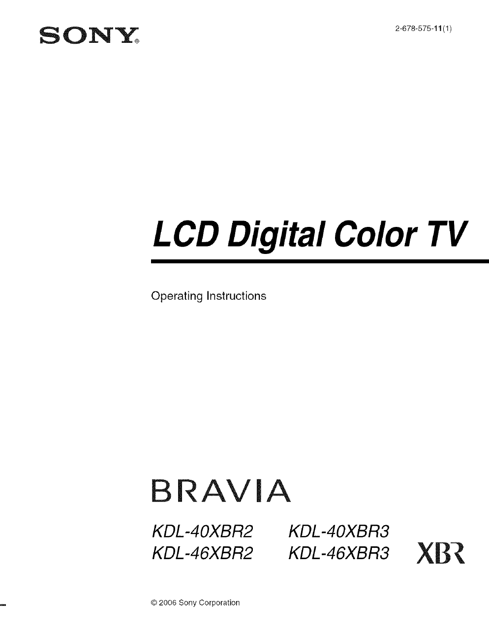 Sony KDL 40XBR2 User Manual LCD TELEVISION Manuals And