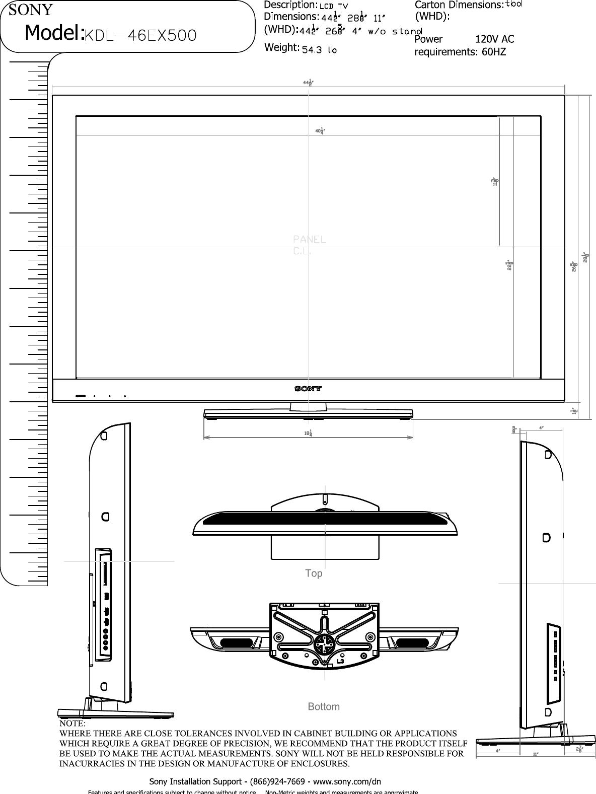 sony kdl 46ex500 layout1 user manual dimensions diagram kdl46ex500 rh usermanual wiki