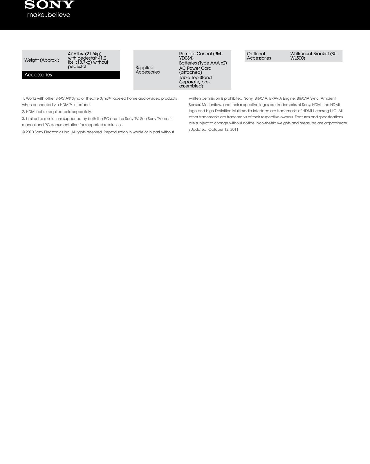 sony kdl 46ex500 user manual marketing specifications kdl46ex500 mksp rh usermanual wiki