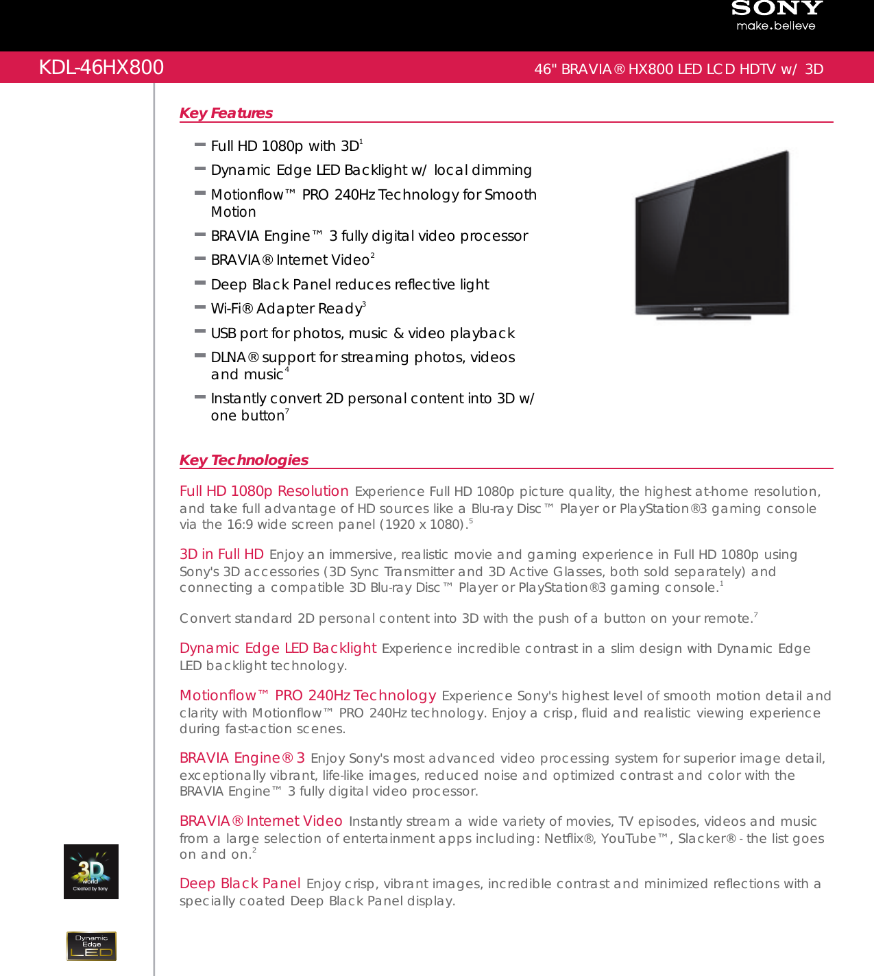 sony kdl 46hx800 user manual marketing specifications kdl46hx800 mksp rh usermanual wiki sony bravia kdl-46hx800 user manual sony bravia kdl-46hx800 manual