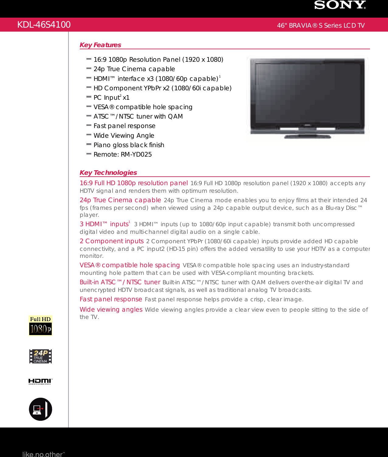 Sony KDL 46S4100 User Manual Marketing Specifications