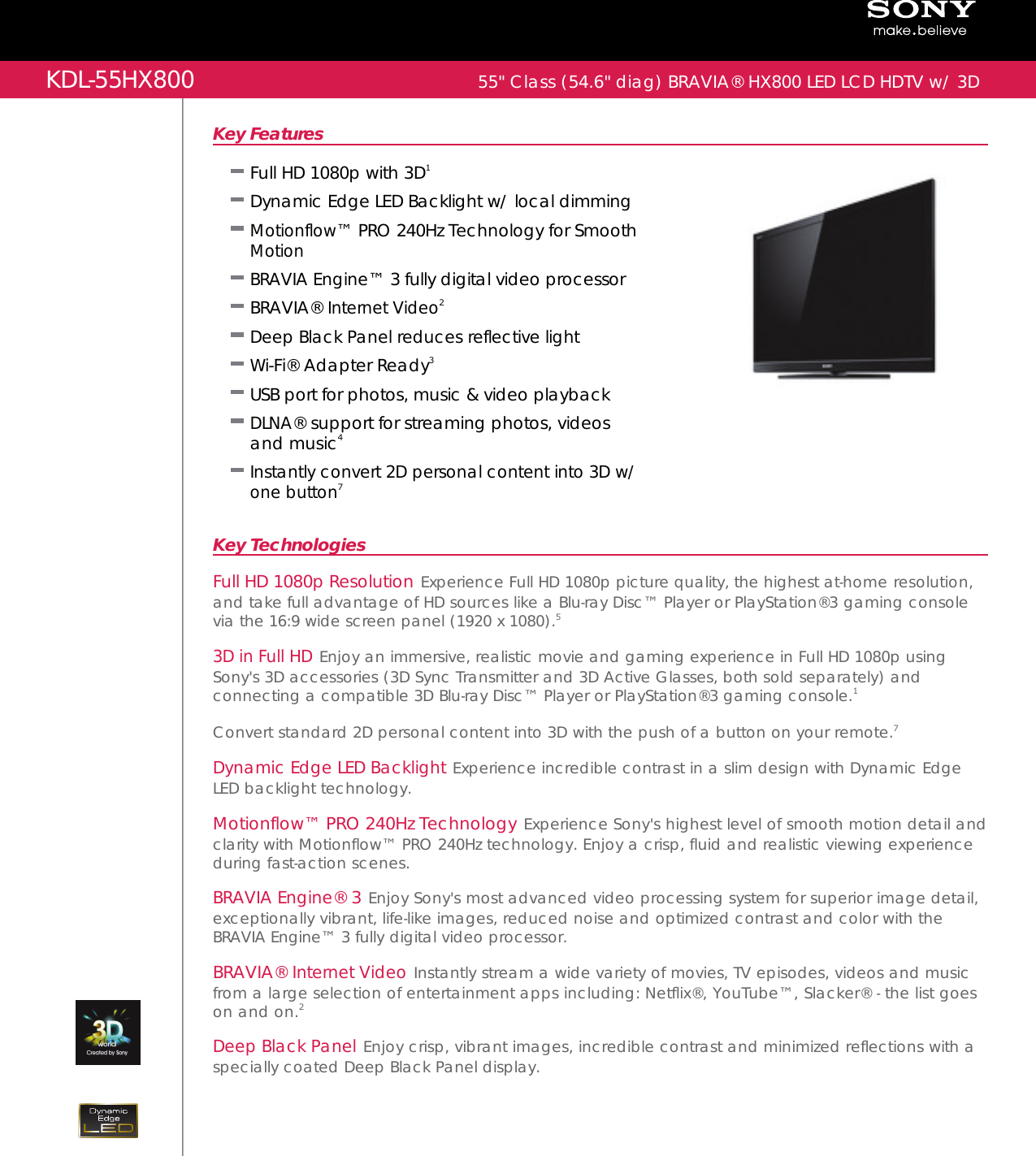 sony kdl 55hx800 user manual marketing specifications kdl series rh usermanual wiki