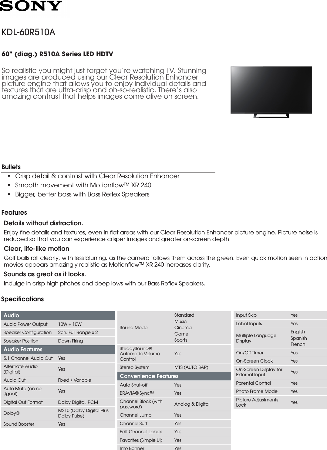 Sony KDL 60R510A User Manual Marketing Specifications(Black