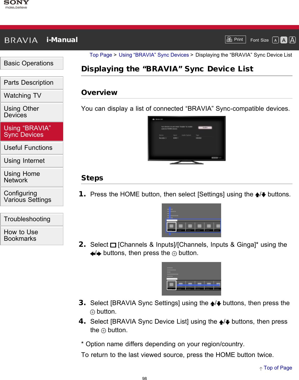 "Sony KDL 65W850A ""BRAVIA"" User Manual I Online (Printable PDF"