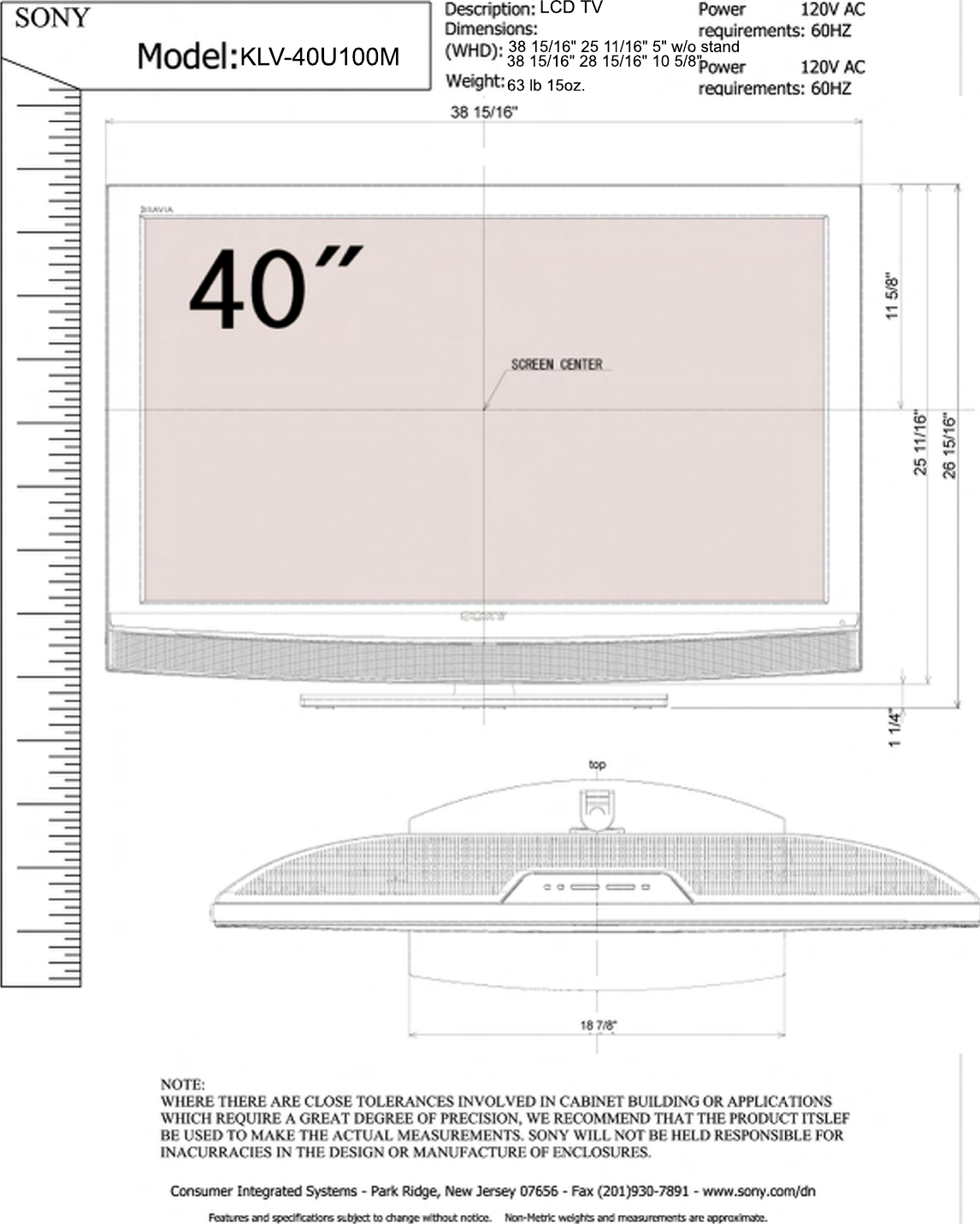 sony klv 40u100m cut psd user manual dimensions diagram klv40u100m rh usermanual wiki Sony Bravia TV HDMI Ports Sony Bravia TV HDMI Ports