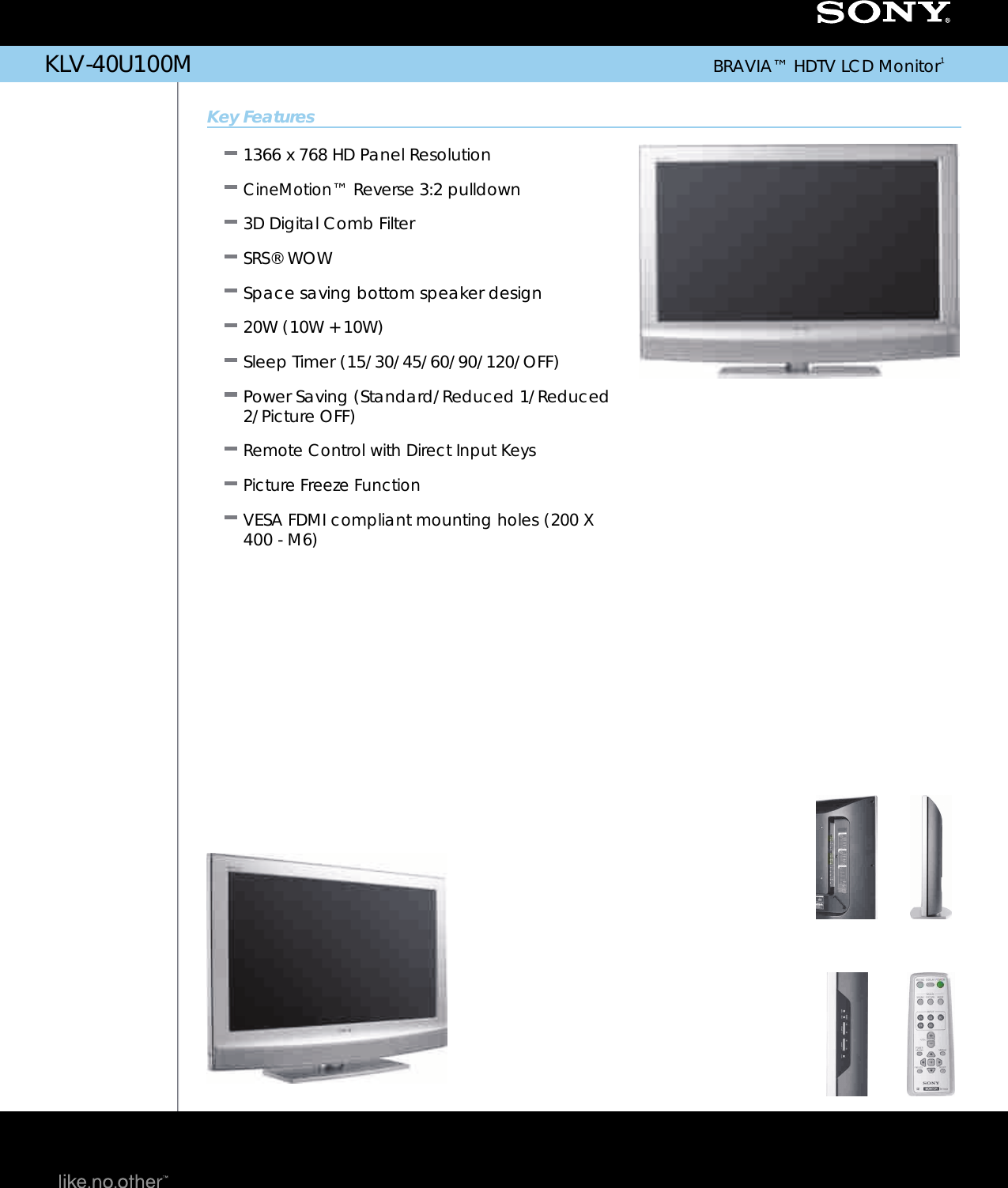 sony klv 40u100m user manual marketing specifications klv40u100m mksp rh usermanual wiki Sony Bravia TV HDMI Ports Sony BRAVIA Connection Diagram