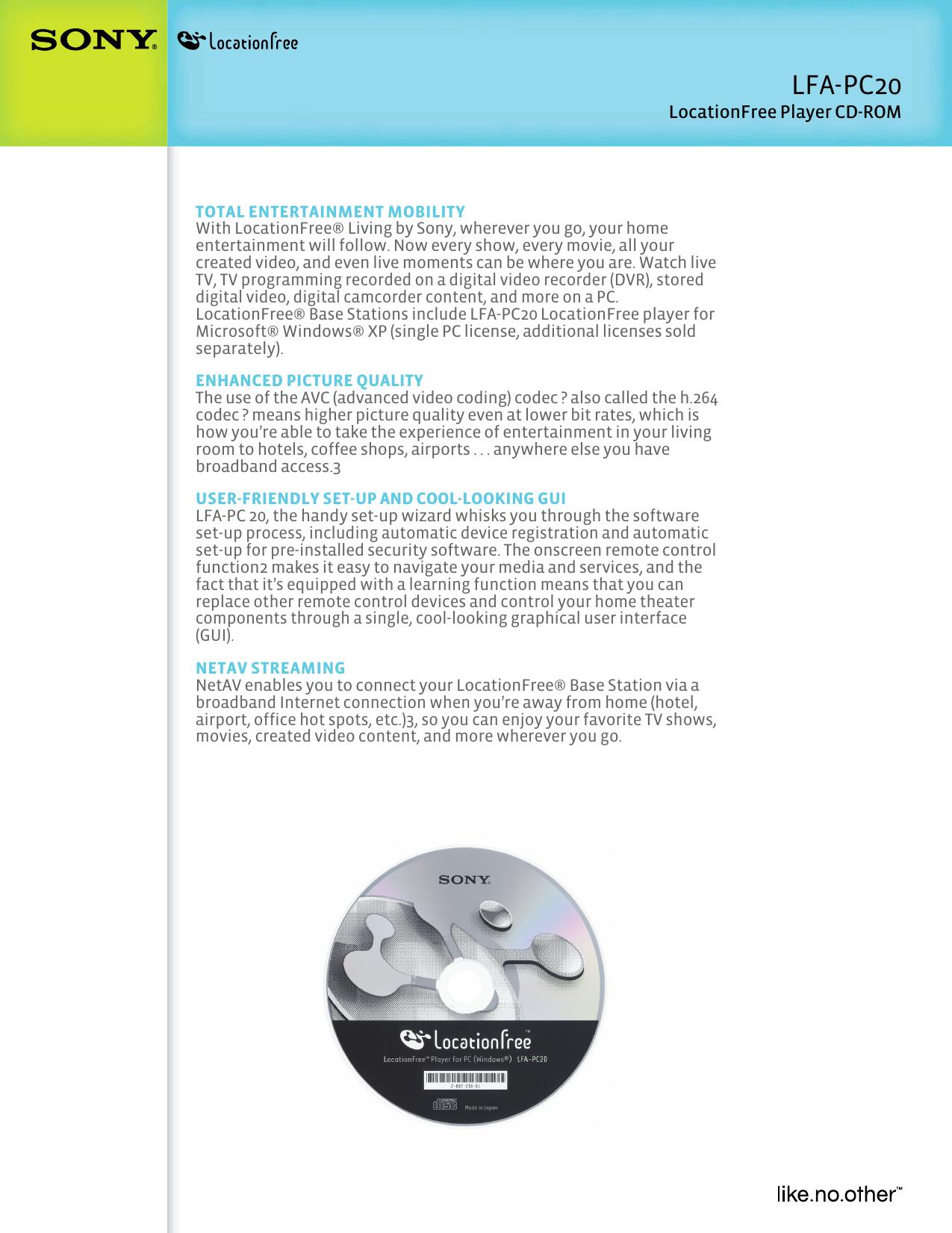 Sony LF B20 User Manual Marketing Specifications (LFA PC20