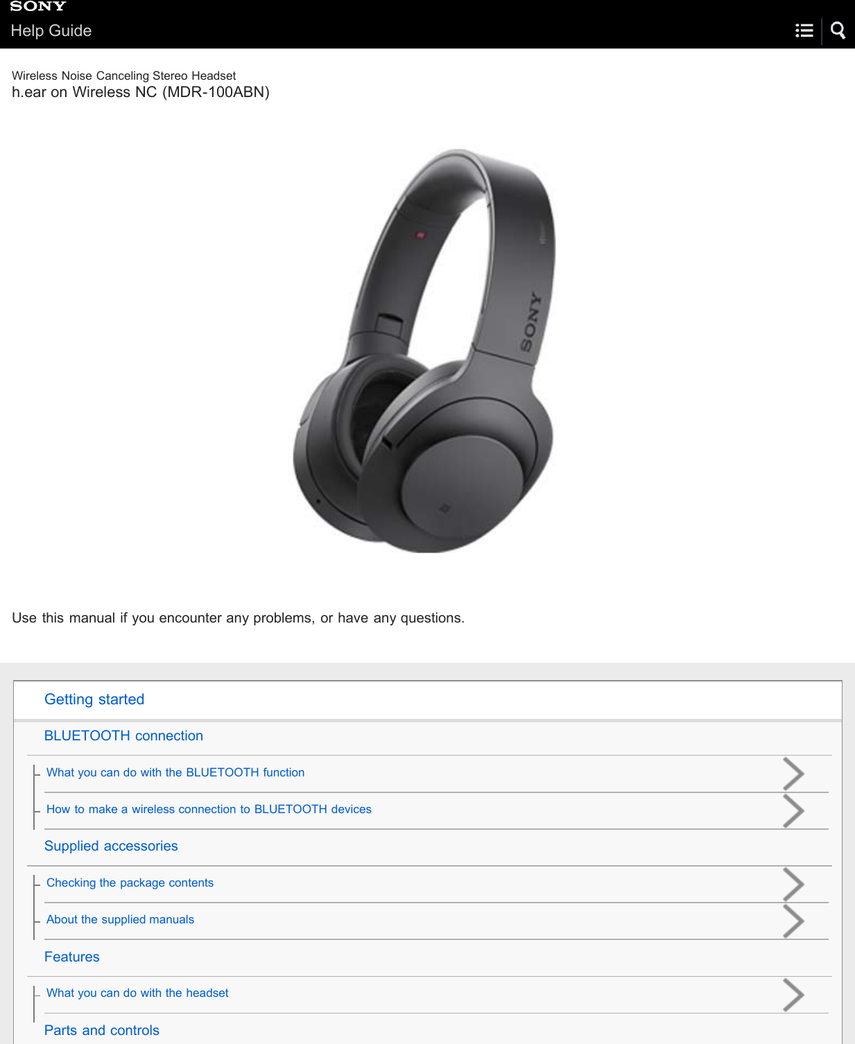 Sony MDR 100ABN Help Guide | Top User Manual (Printable PDF