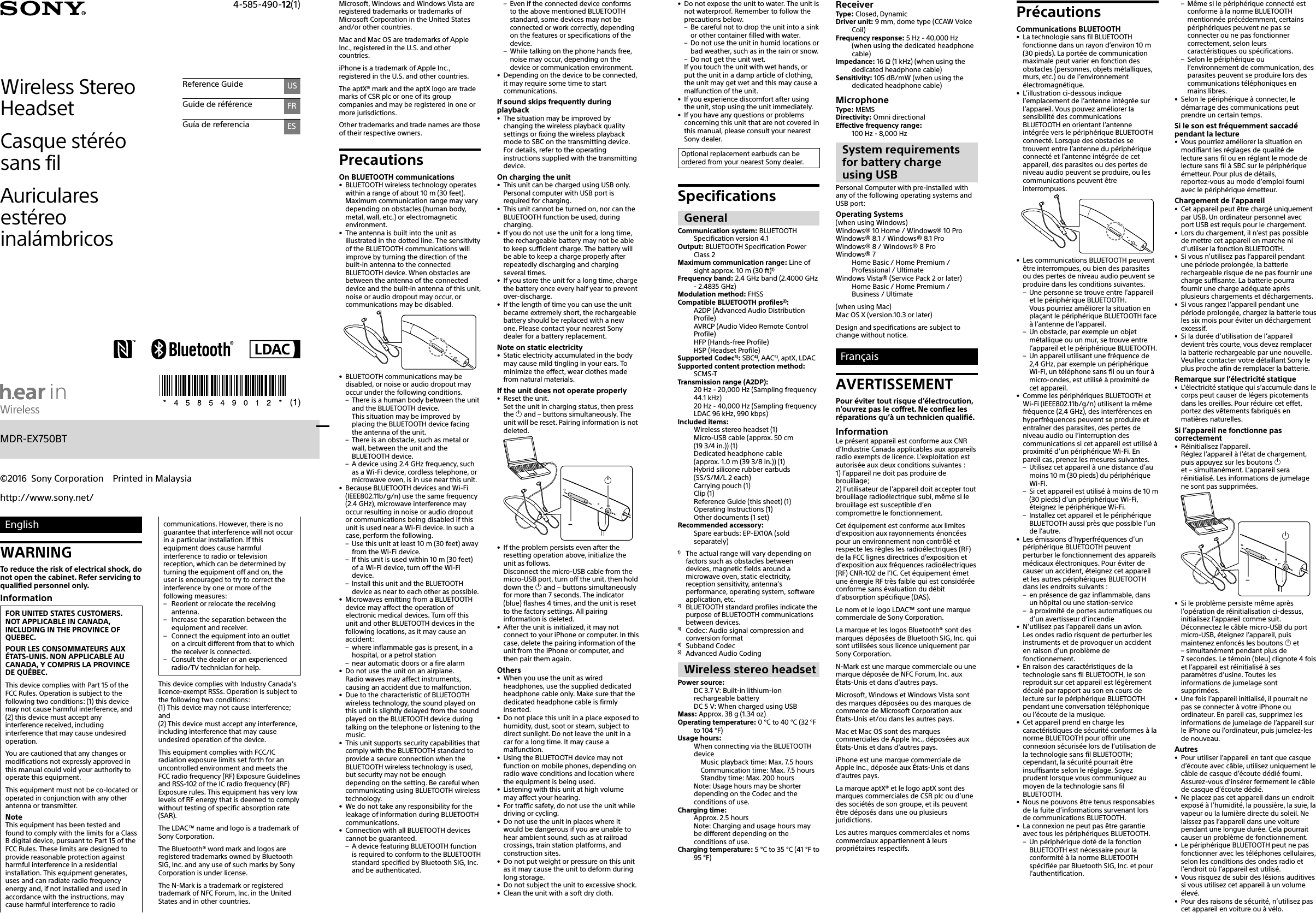 Sony Mdr Ex750bt User Manual Reference Guide Ref 4585490121