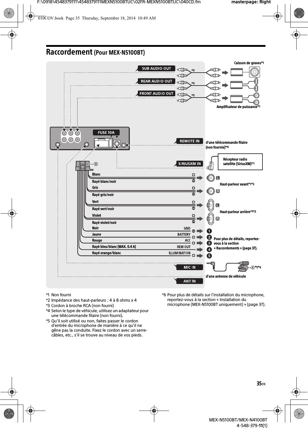 Sony MEXN5100BT Bluetooth Audio System User Manual MEX N5100BT MEX on