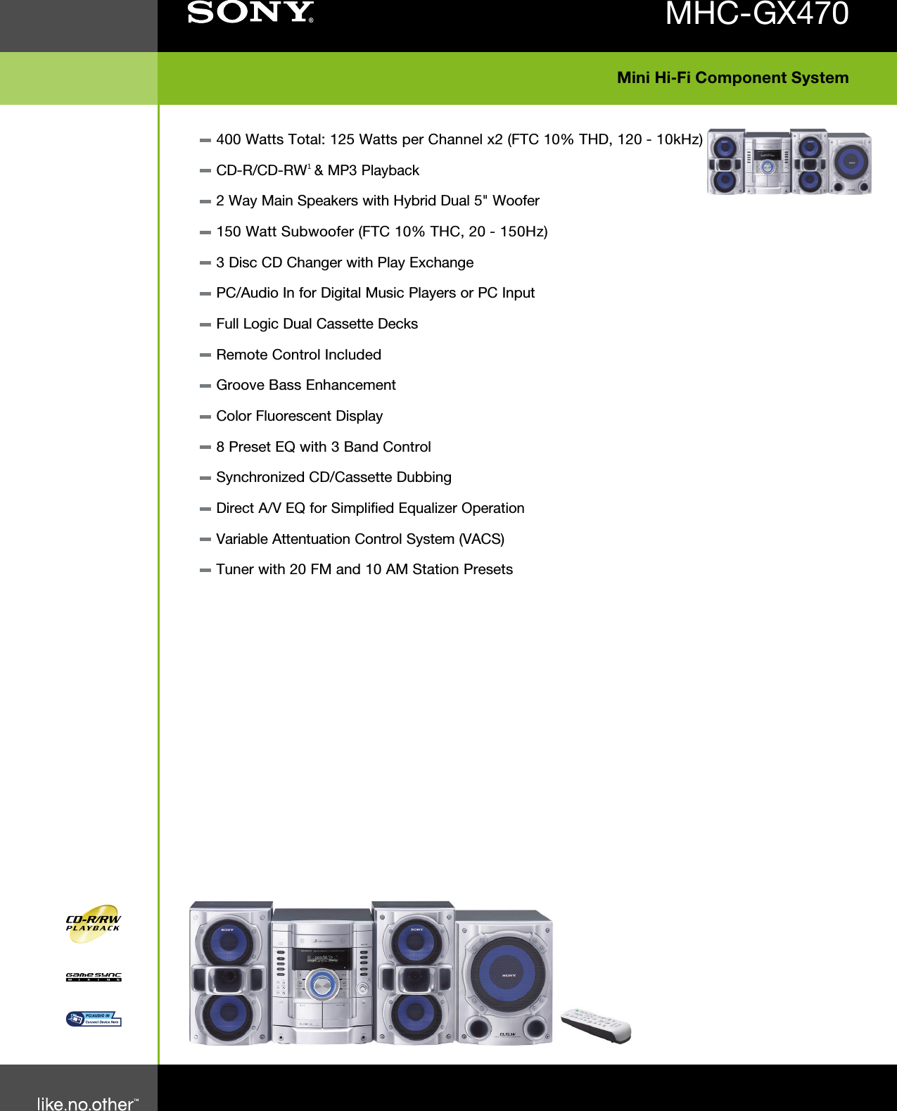 Sony Mhc Gx470 User Manual Marketing Specifications