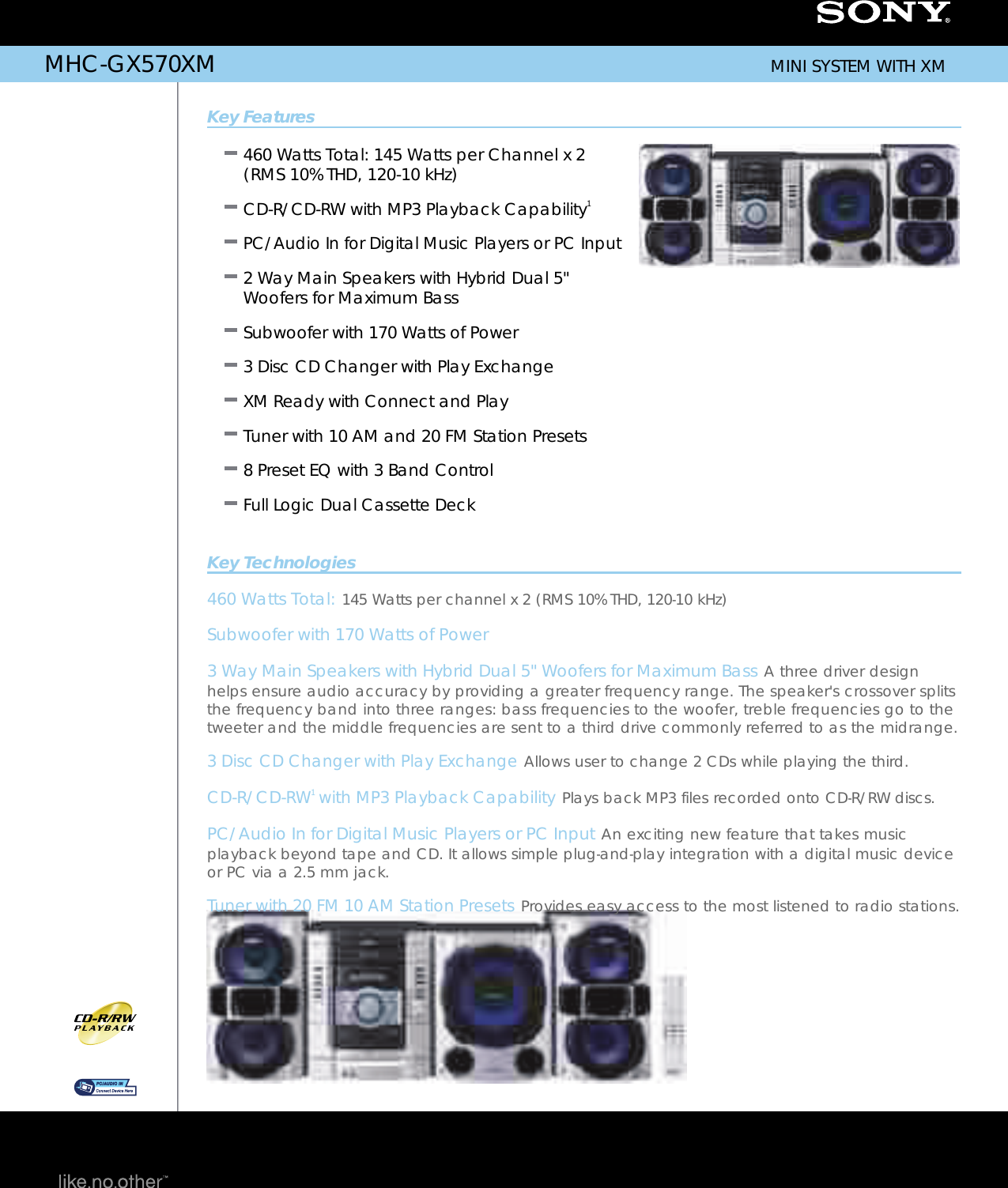 Sony MHC GX570XM User Manual Marketing Specifications