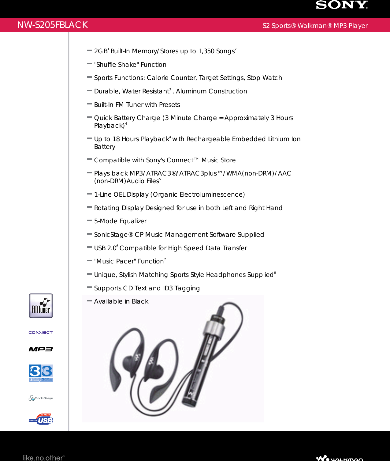 sony nw s205f user manual marketing specifications nws205fblack mksp rh usermanual wiki Infinity PRV250 Manual Sport Club Penguin Codes