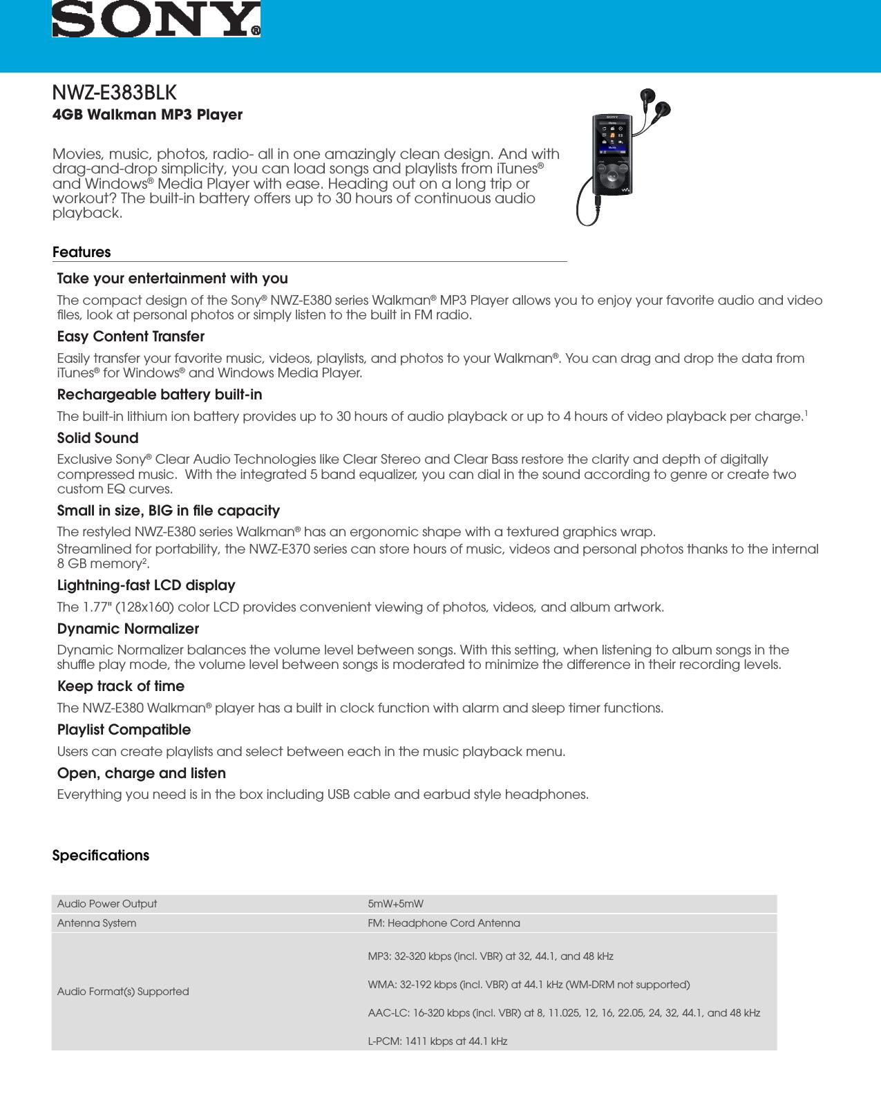 Sony NWZ E383 User Manual Marketing Specifications (Black