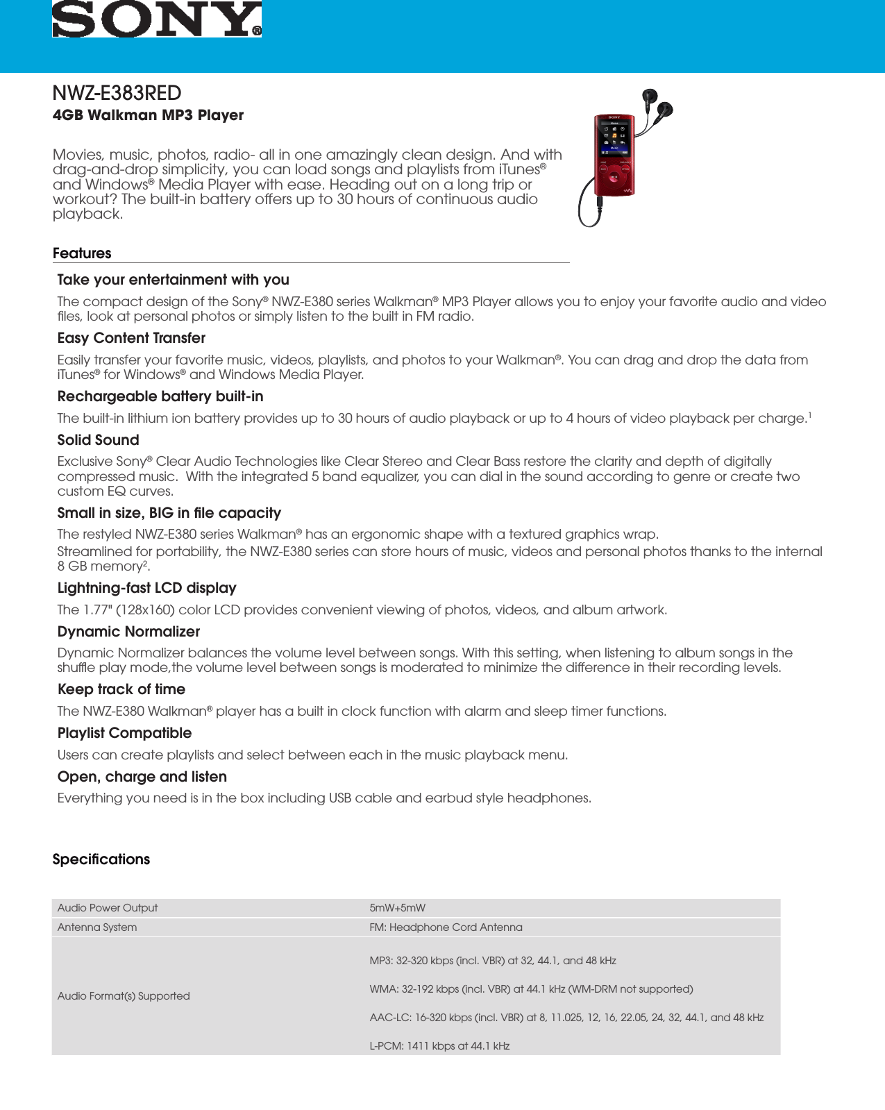 Sony NWZ E383 User Manual Marketing Specifications (Red ) NWZE383RED