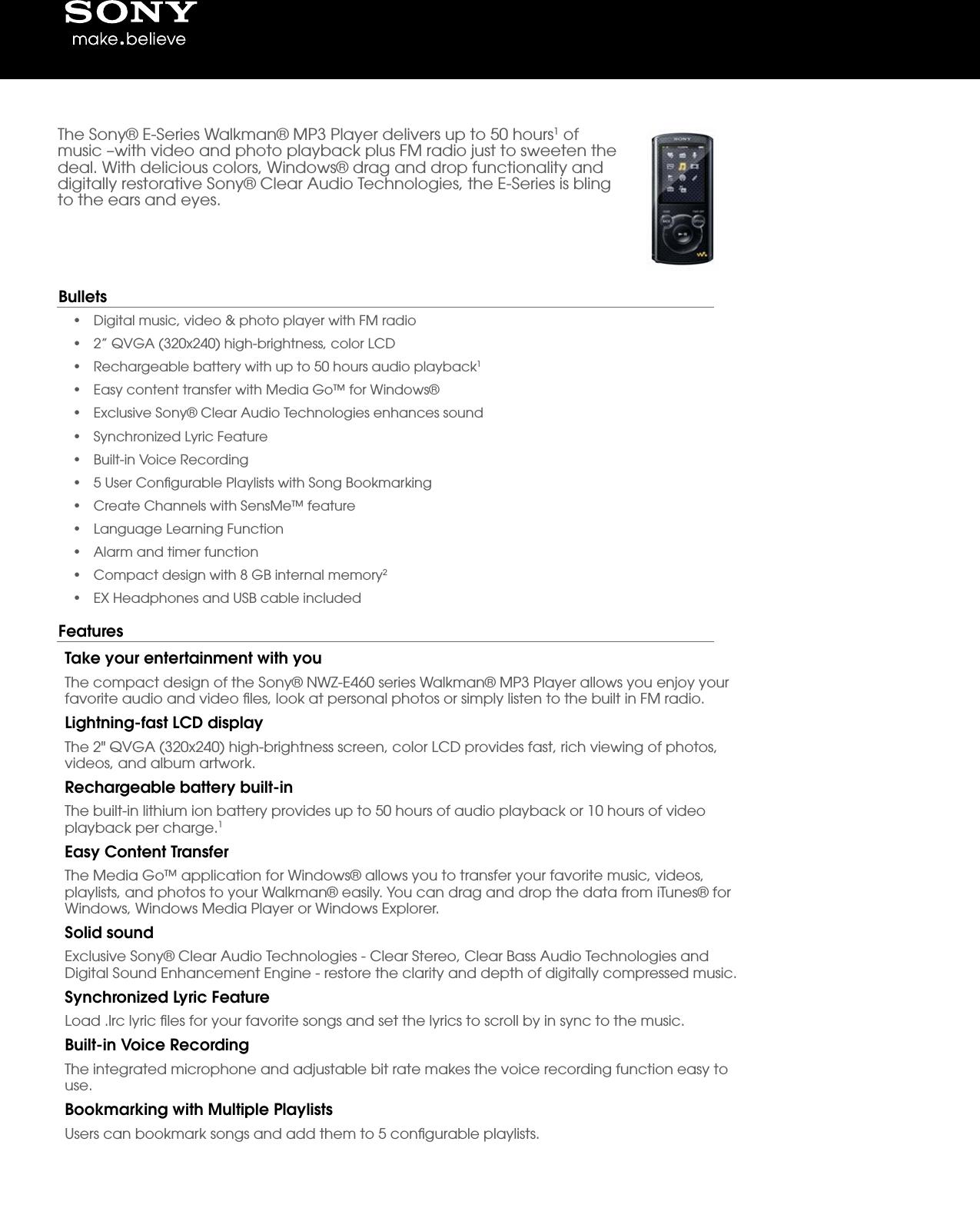 sony nwz e464 user manual marketing specifications black rh usermanual wiki Sony Walkman Nwz- A15 Sony Walkman Nwz- A15