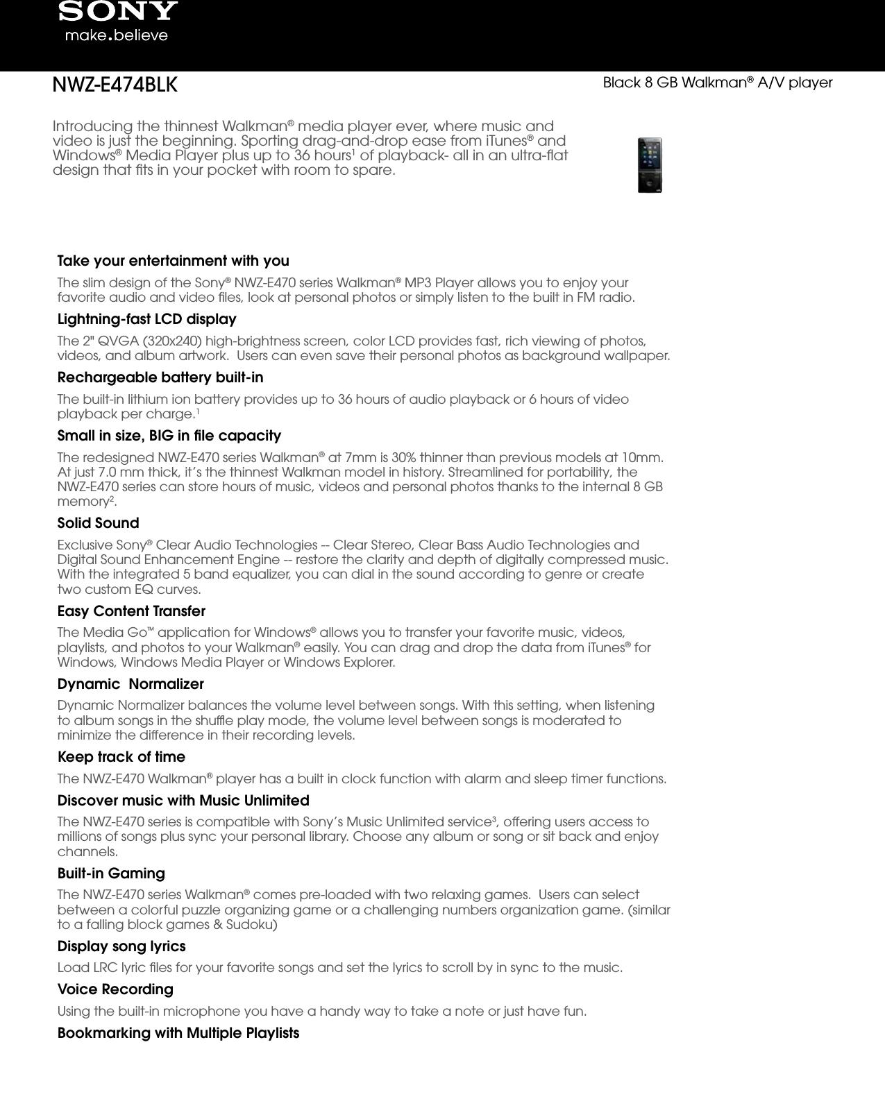 Sony NWZ E474 User Manual Marketing Specifications (Black