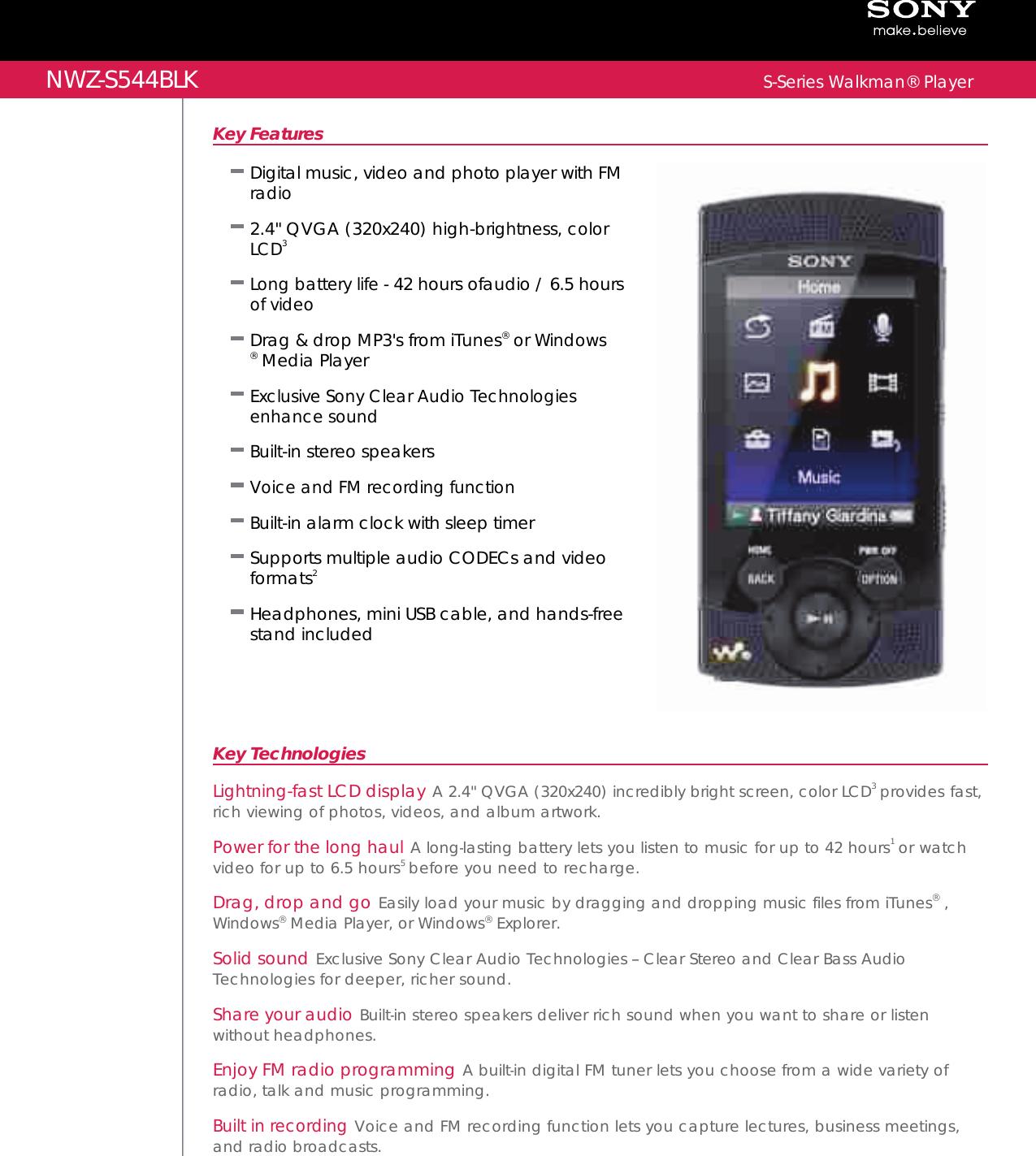 sony nwz s544 user manual marketing specifications black rh usermanual wiki Sony Nwz E436F Cable Sony Nwz E436F Cable