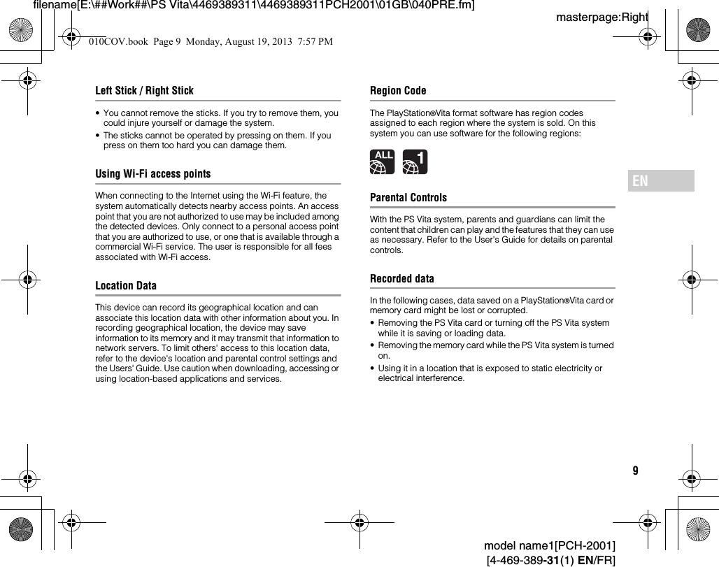 Sony PCH2001 PlayStation(R) Vita User Manual PCH 2001
