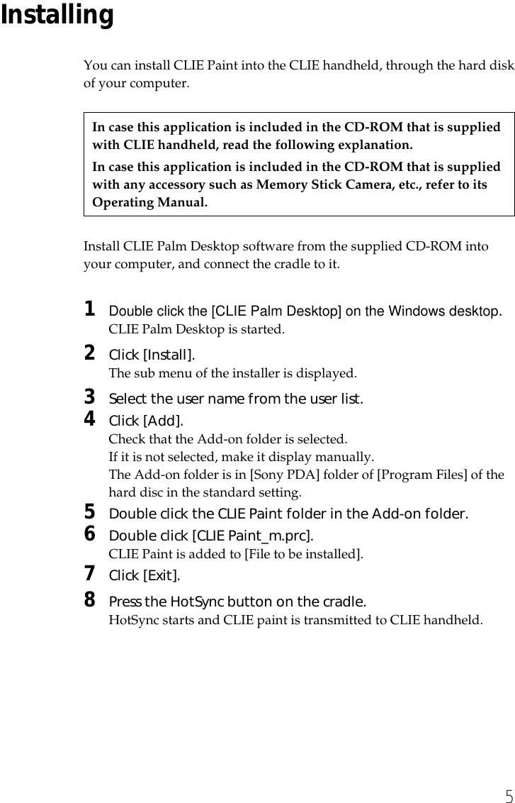Sony PEGA MSC1 CLIE Paint Version 1.0 User Manual V1.0 ...