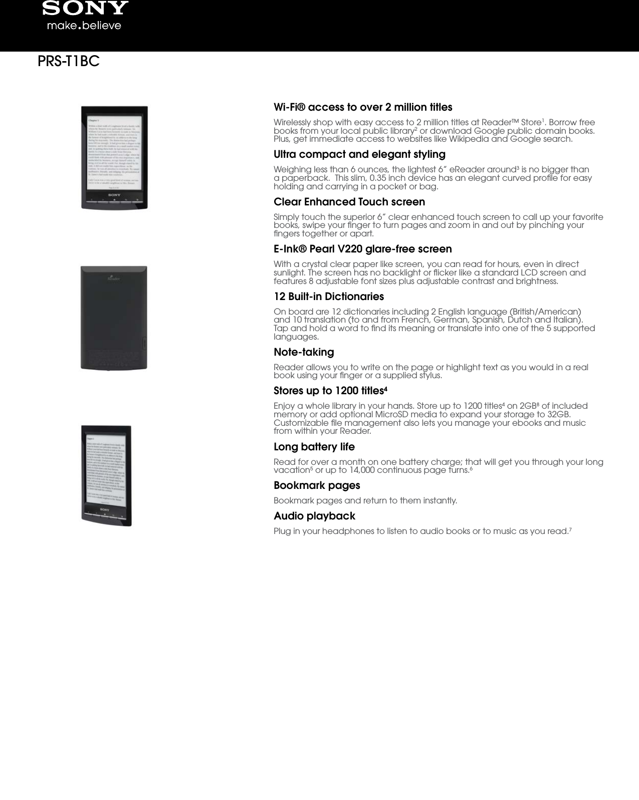 Sony prs t1 user manual marketing specifications prs t1bc prst1bc mksp publicscrutiny Images