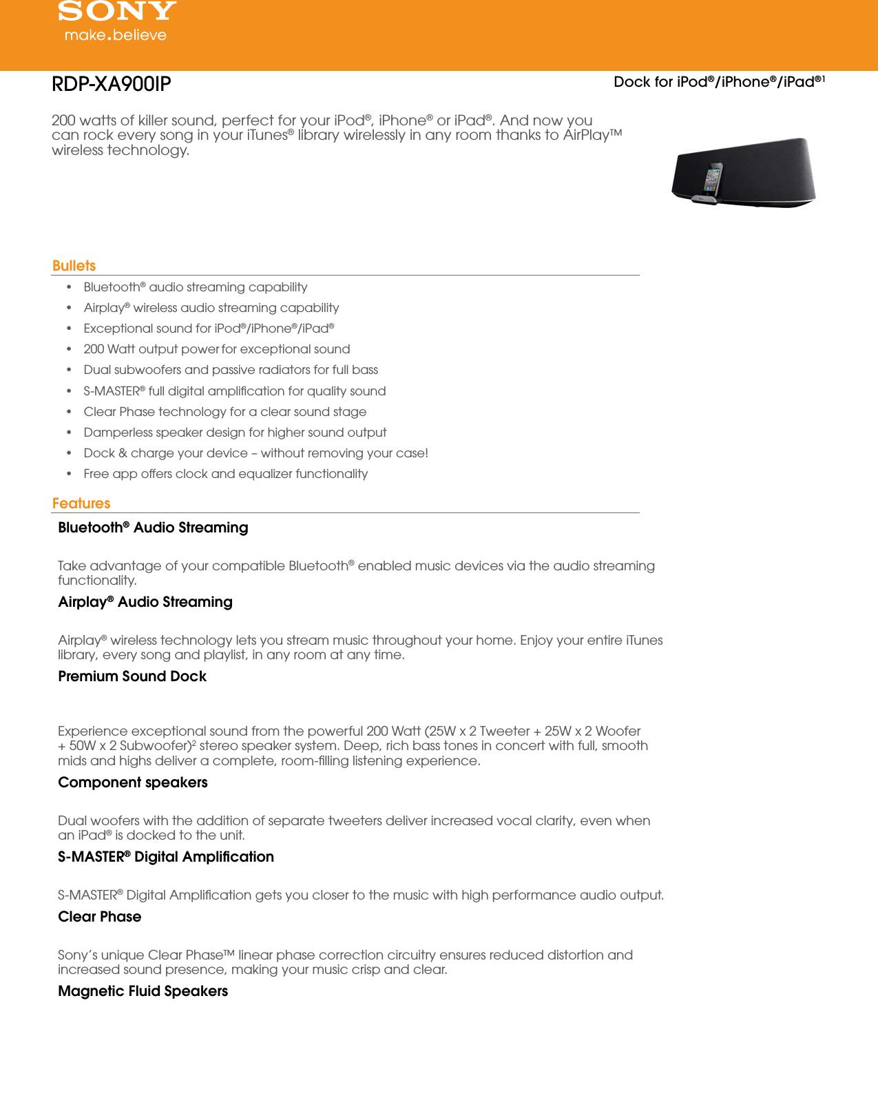 Sony RDP XA900iP User Manual Marketing Specifications RDPXA900IP Mksp