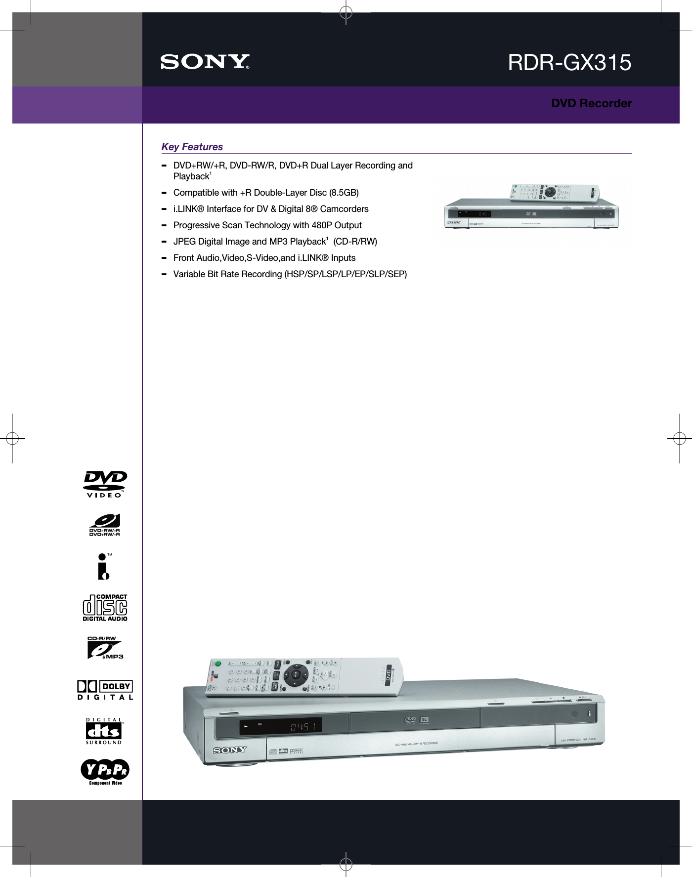 Page 1 of 2 - Sony RDR-GX315 User Manual Marketing Specifications Specs