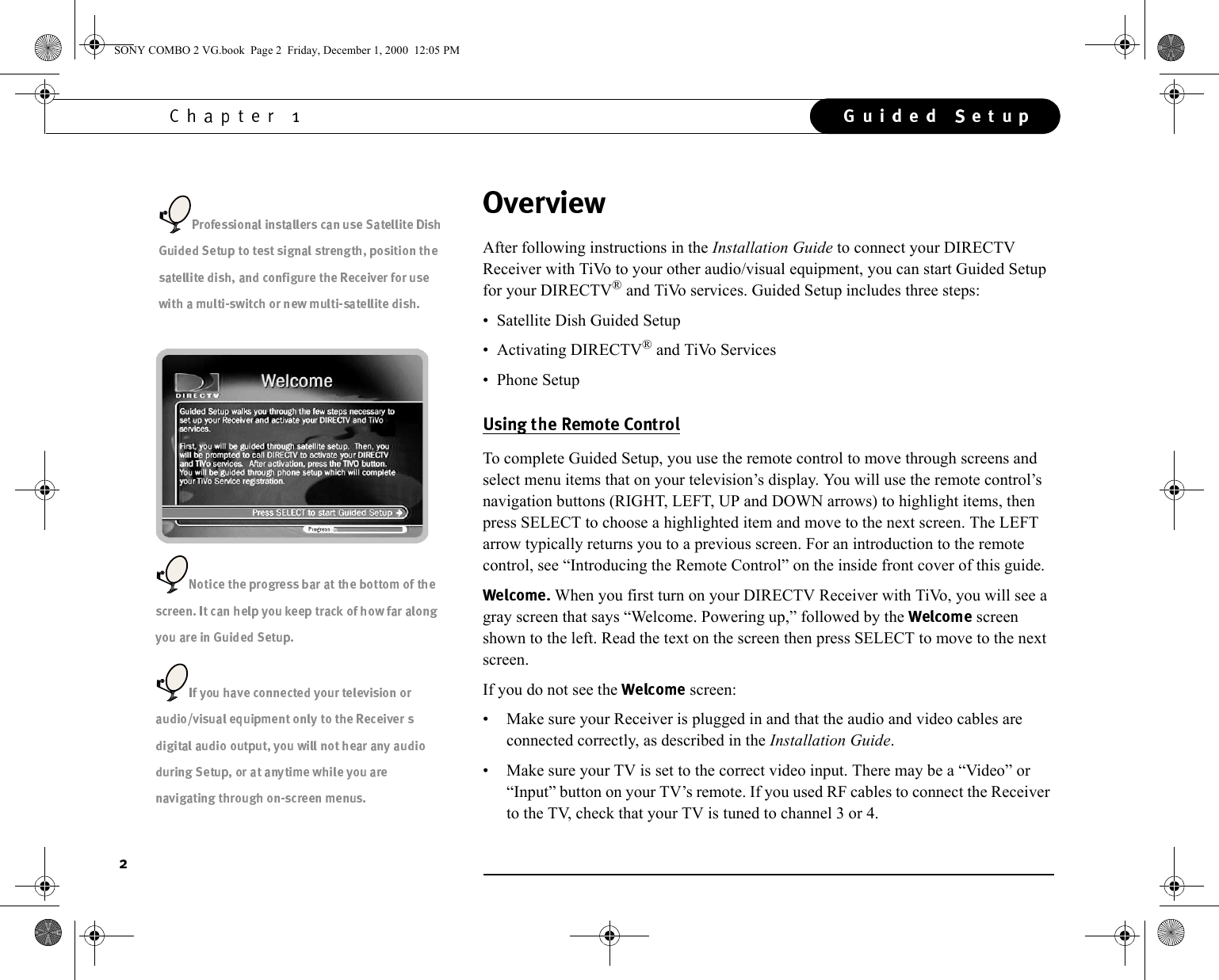 Sony SAT T60 User Manual Welcome To DIRECTV & Ti Vo