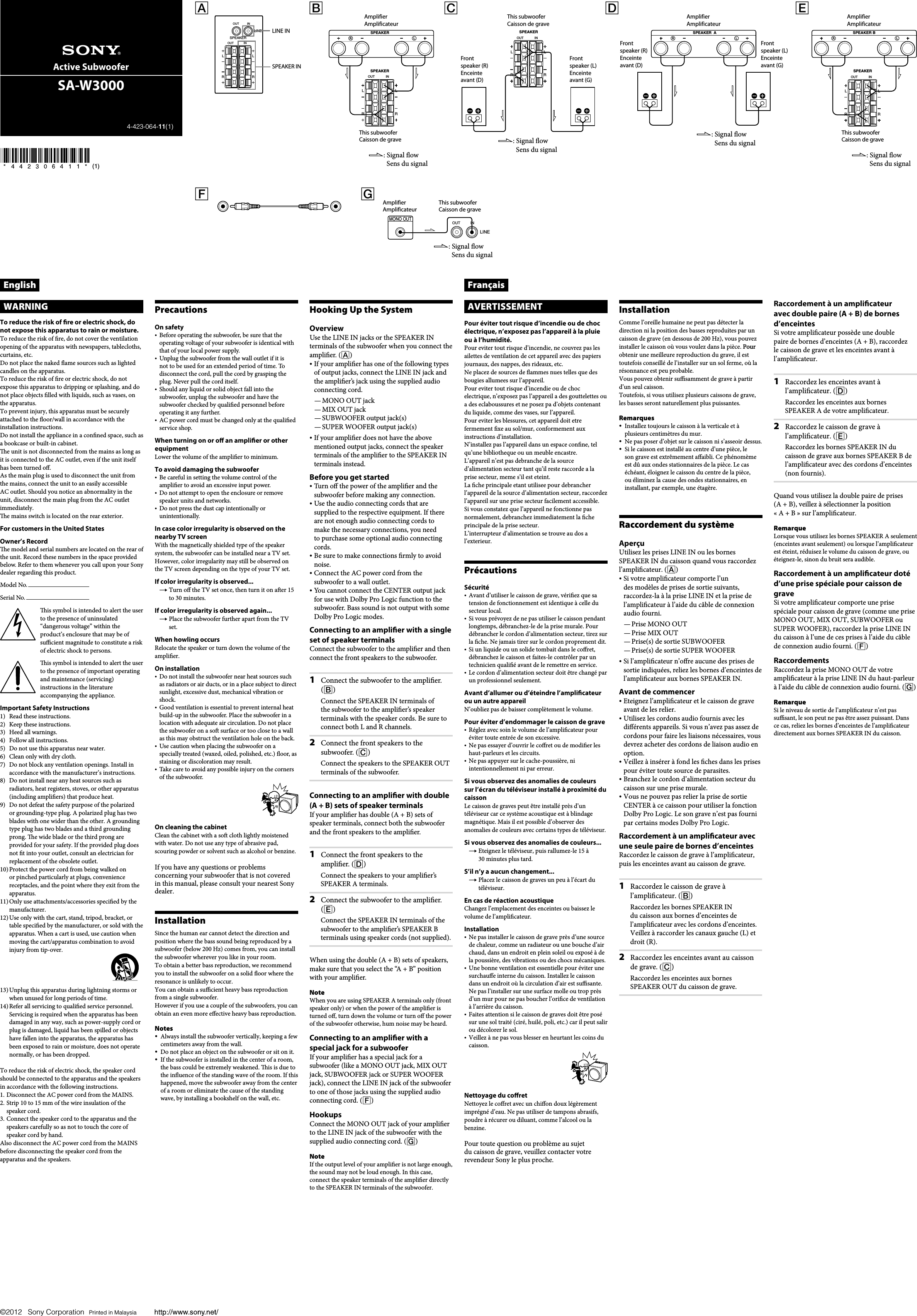 sony sa w3000 user manual operating instructions saw3000 specific rh usermanual wiki Sony Home Subwoofer Sony Powered Subwoofer Home Theater