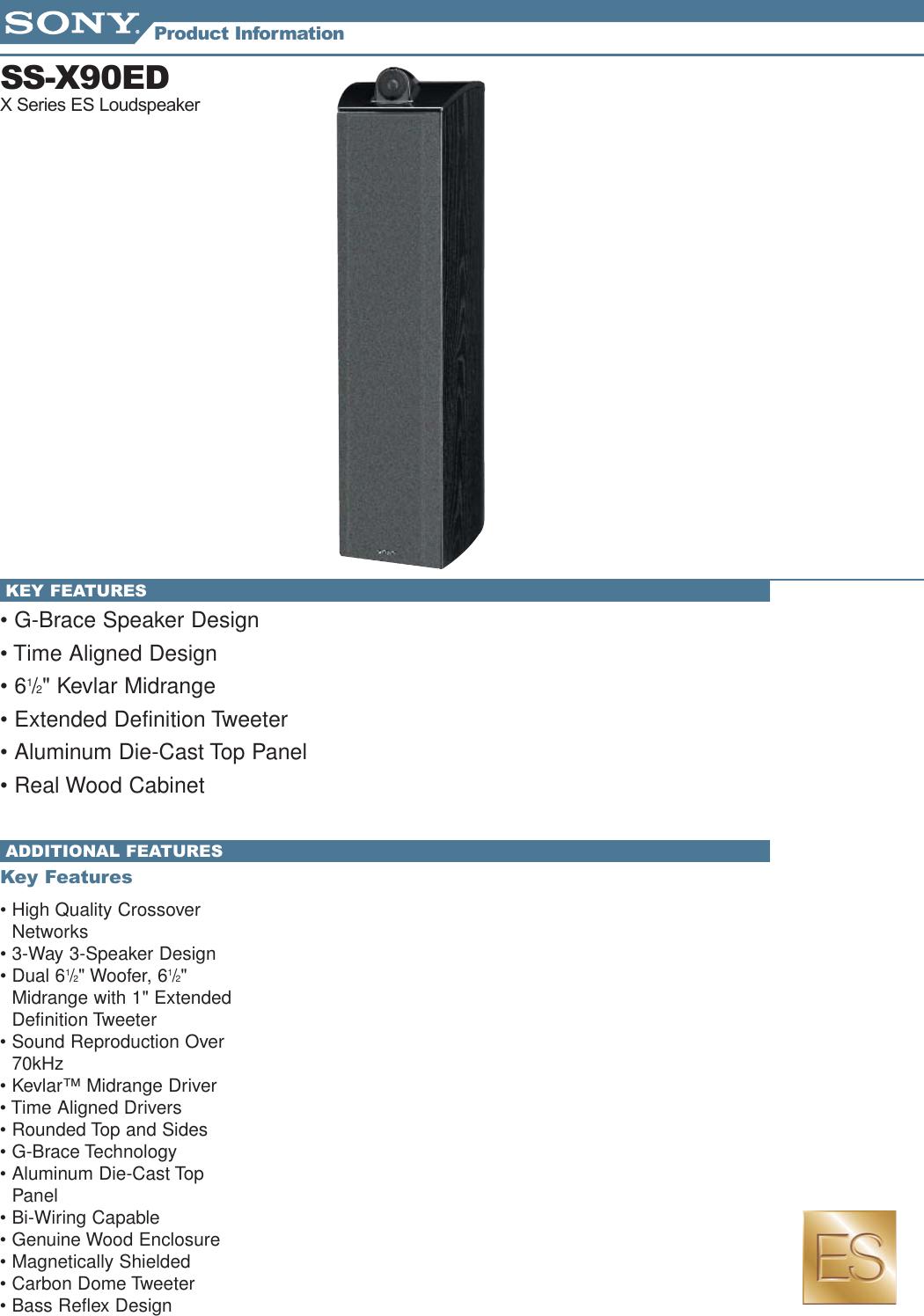 Sony Ss X90ed Speakers Info Sheets 1 User Manual Marketing Bi Wiring Diagram Specifications Ssx90ed Mksp