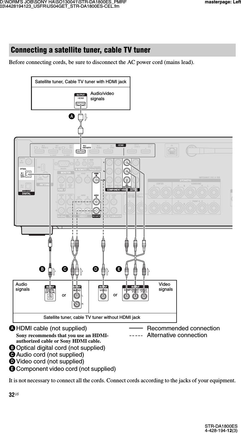 Videoprojecteur Avec Tuner Tv sony str da1800es user manual operating instructions (large