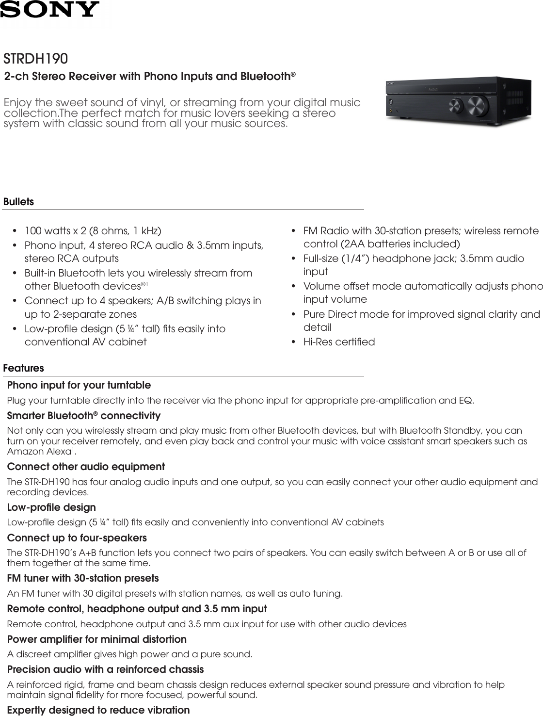 Sony STR DH190 User Manual Marketing Specifications Docget