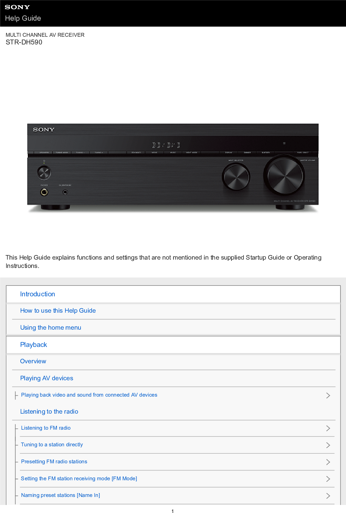 Sony Str Dh590 User Manual Operating Instructions Docget Manual Guide