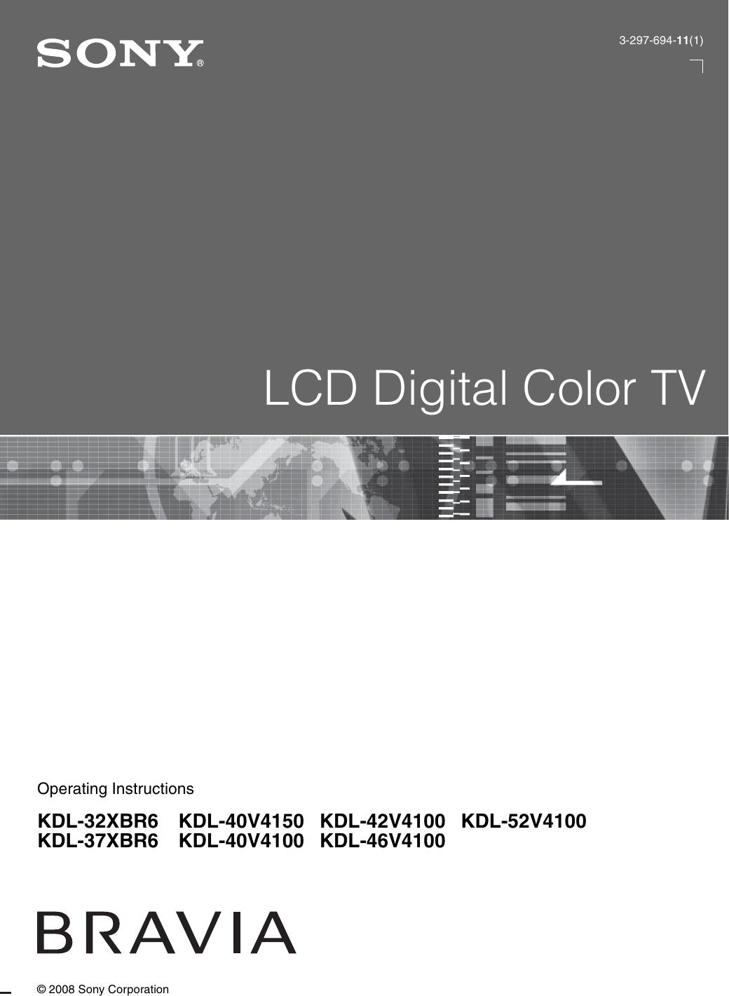 Sony Bravia Kdl 32Xbr6 Users Manual 32XBR6/KDL 37XBR6/KDL