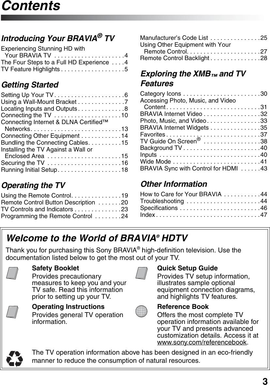Sony Bravia Kdl 40Xbr9 Users Manual 40/46/52XBR9