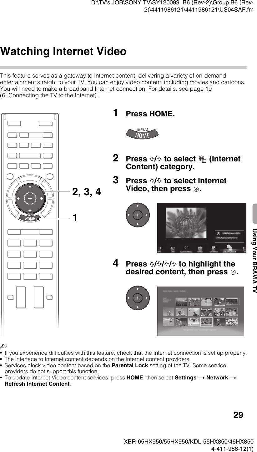 Sony Bravia Kdl 46Hx850 Users Manual XBR 65HX950/55HX950/KDL