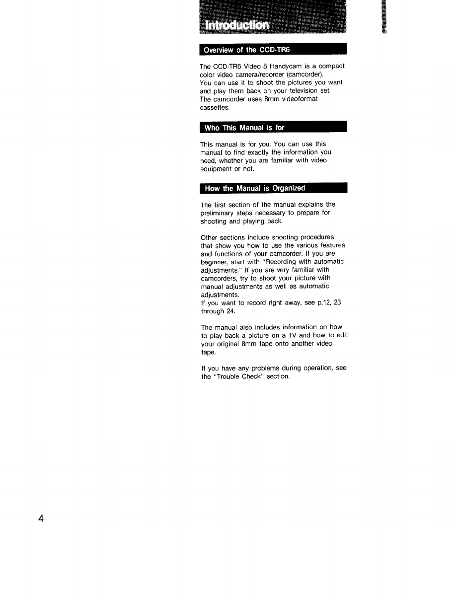 Sony Ccd Tr6 Operating Instructions