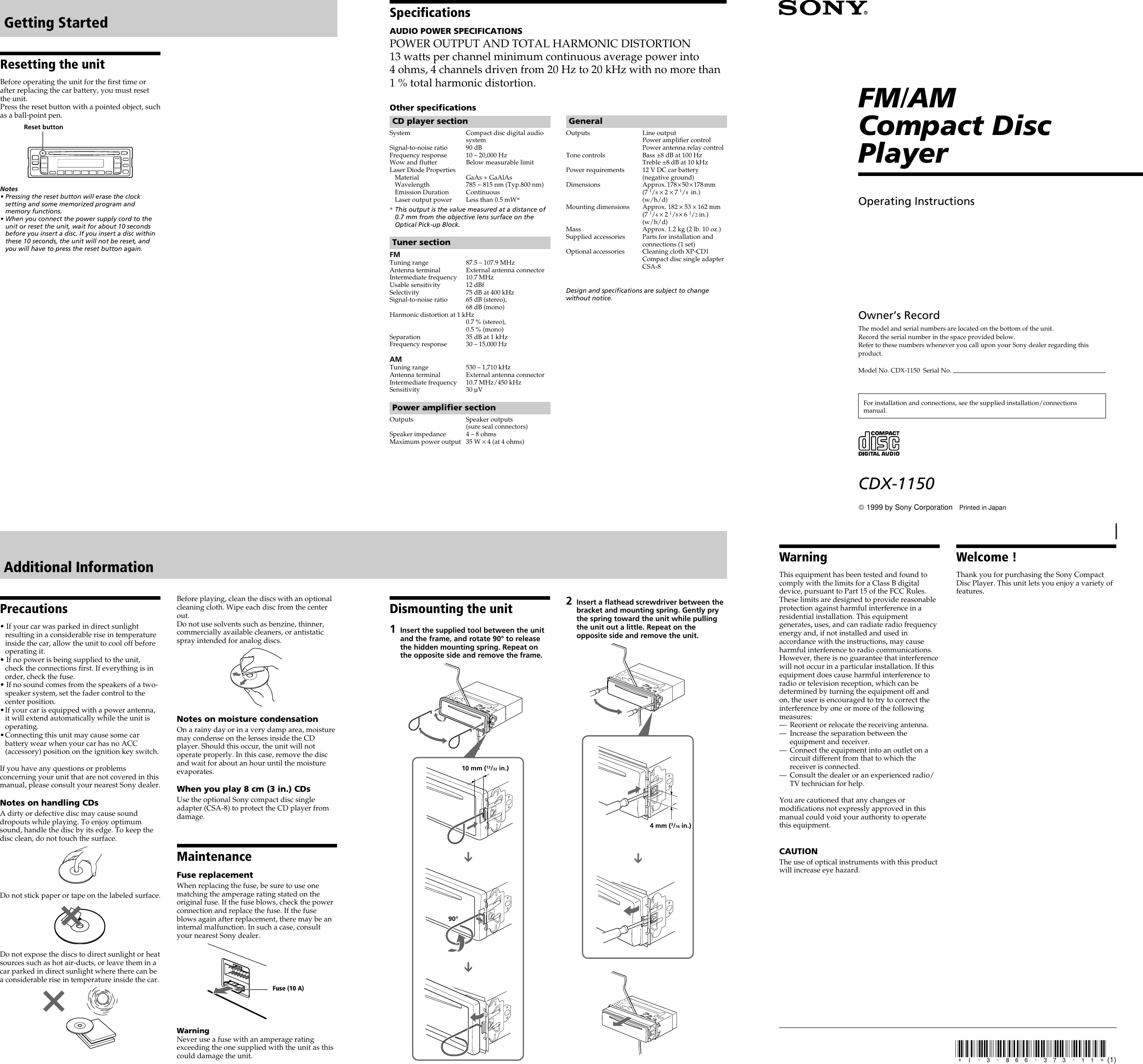 sony cdx 1150 users manual  usermanual.wiki
