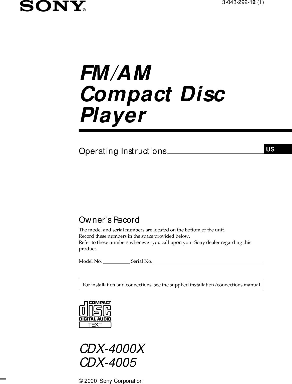 Sony Cdx 4005 Users Manual