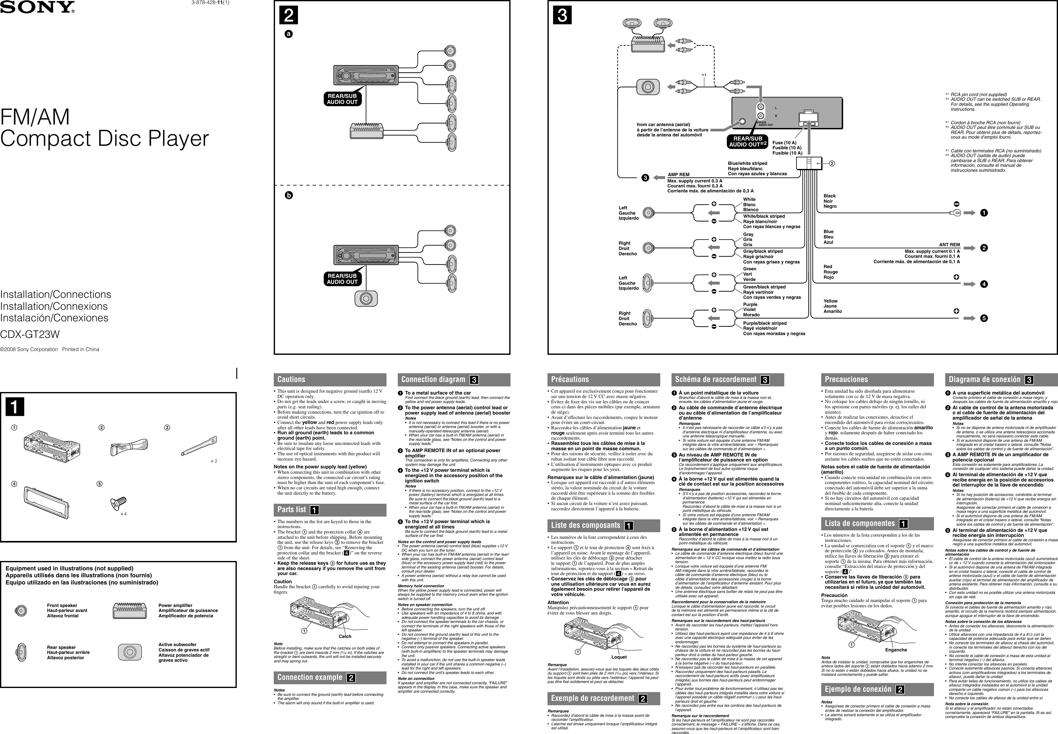 Page 1 of 2 - Sony Sony-Cdx-Gt23W-Installation-Connections-Manual- CDX-GT23W  Sony-cdx-gt23w-installation-connections-manual