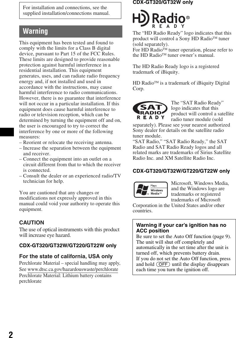 Sony Cdx Gt320 Operating Instructions GT320/GT32W/GT220/GT22W/GT120 Xplod Sony Cdx Gt Wiring Diagram on