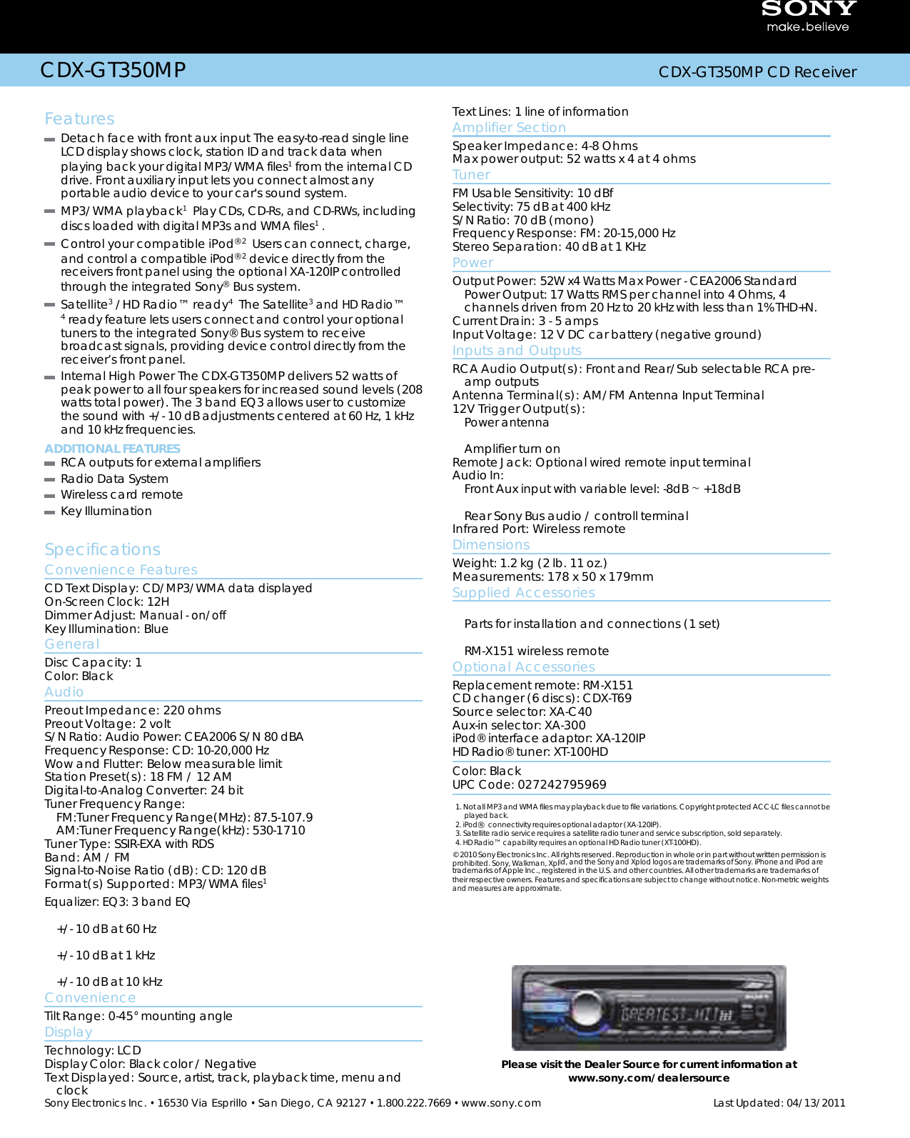Page 2 Of Sony Cdx Gt350mp Users Manual