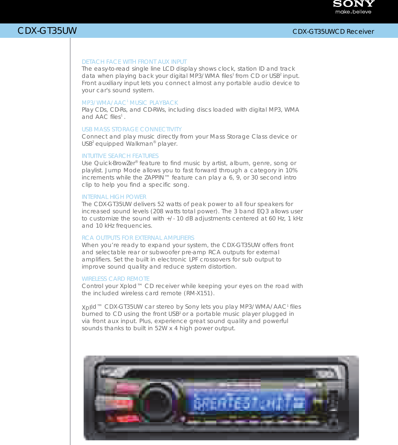 Sony Cdx Gt35Uw Marketing Specifications