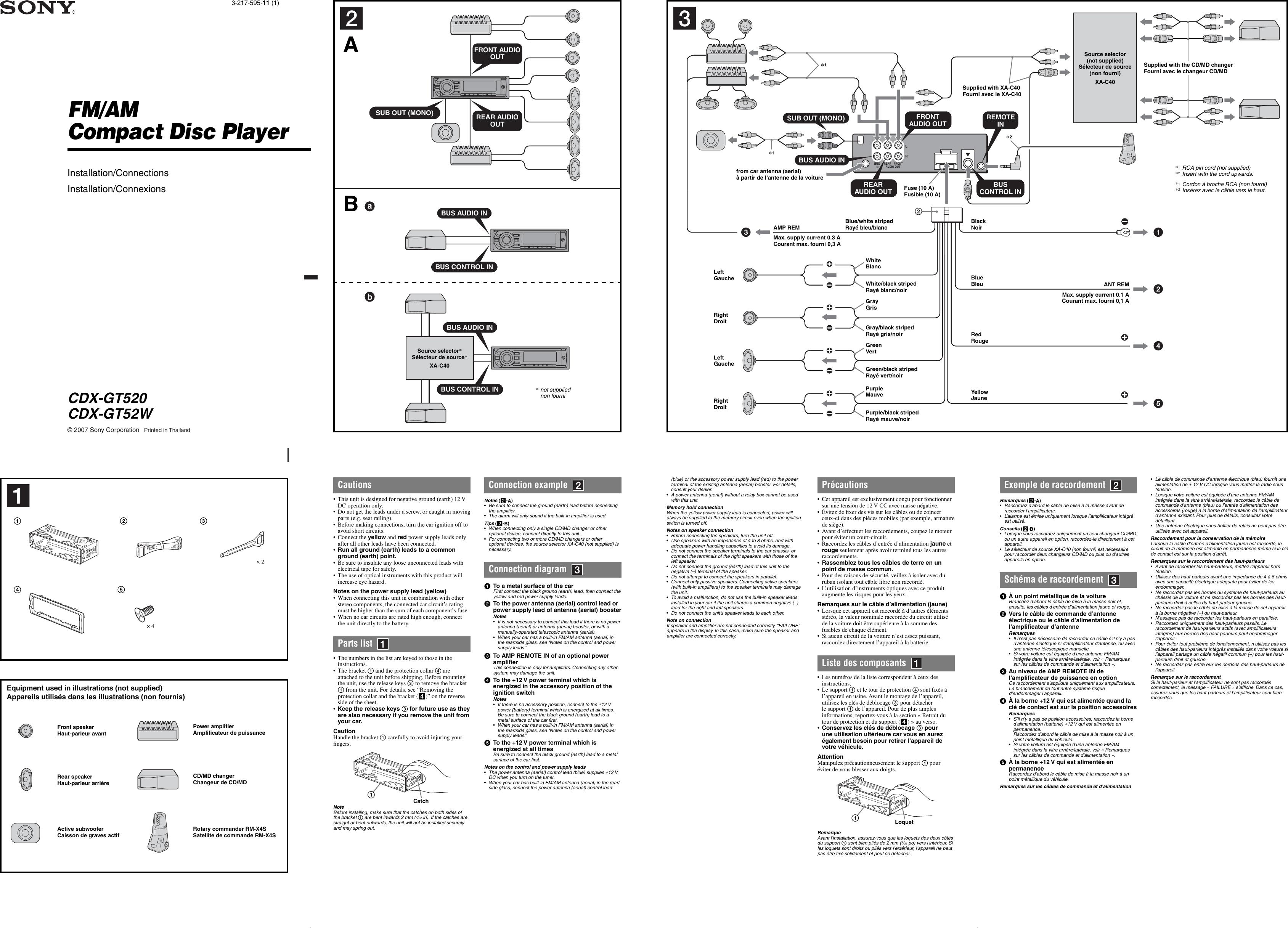Sony Cdx Gt520 Wiring Diagram from usermanual.wiki