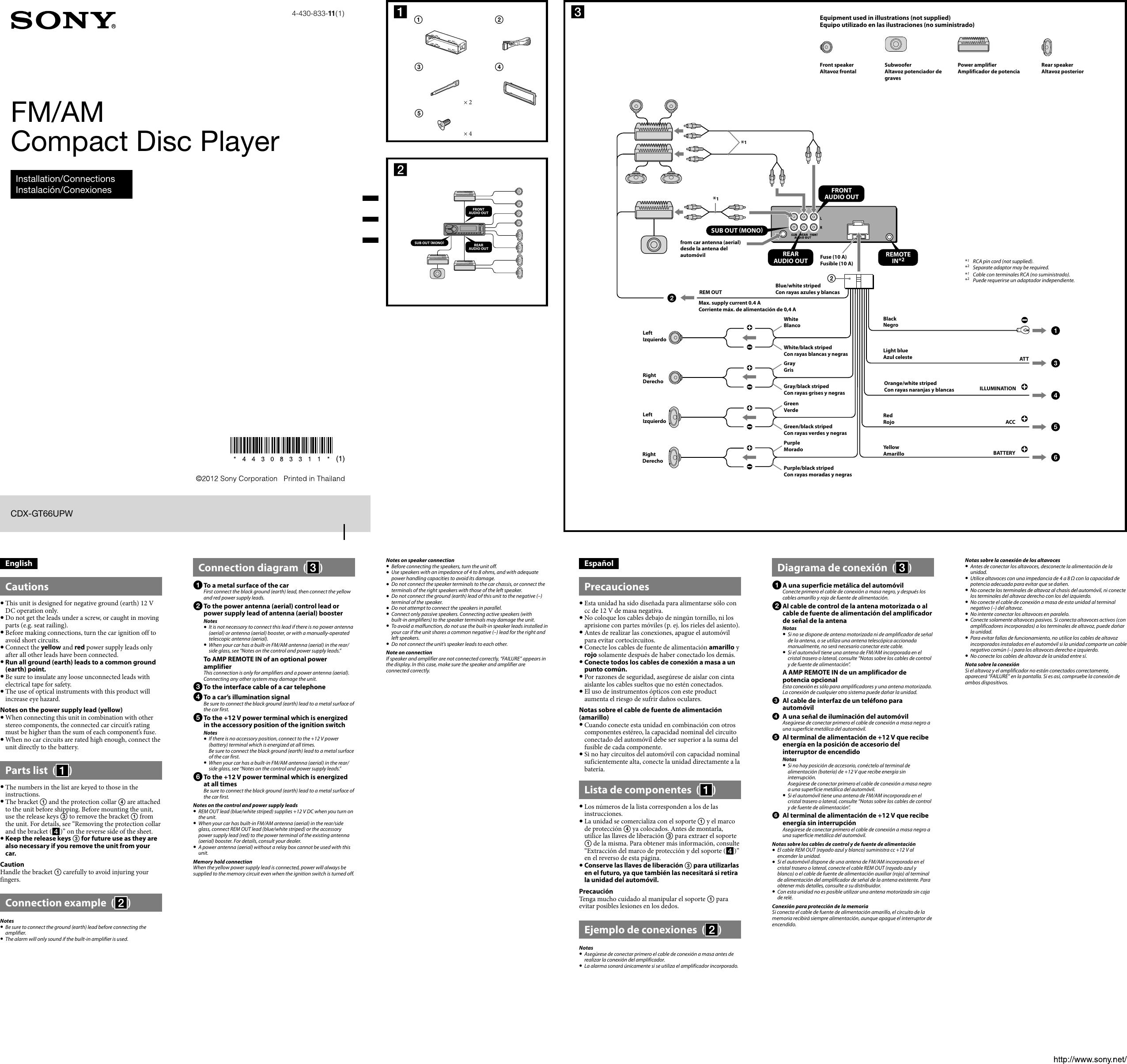 Sony Cdx Gt66Upw Wiring Diagram from usermanual.wiki